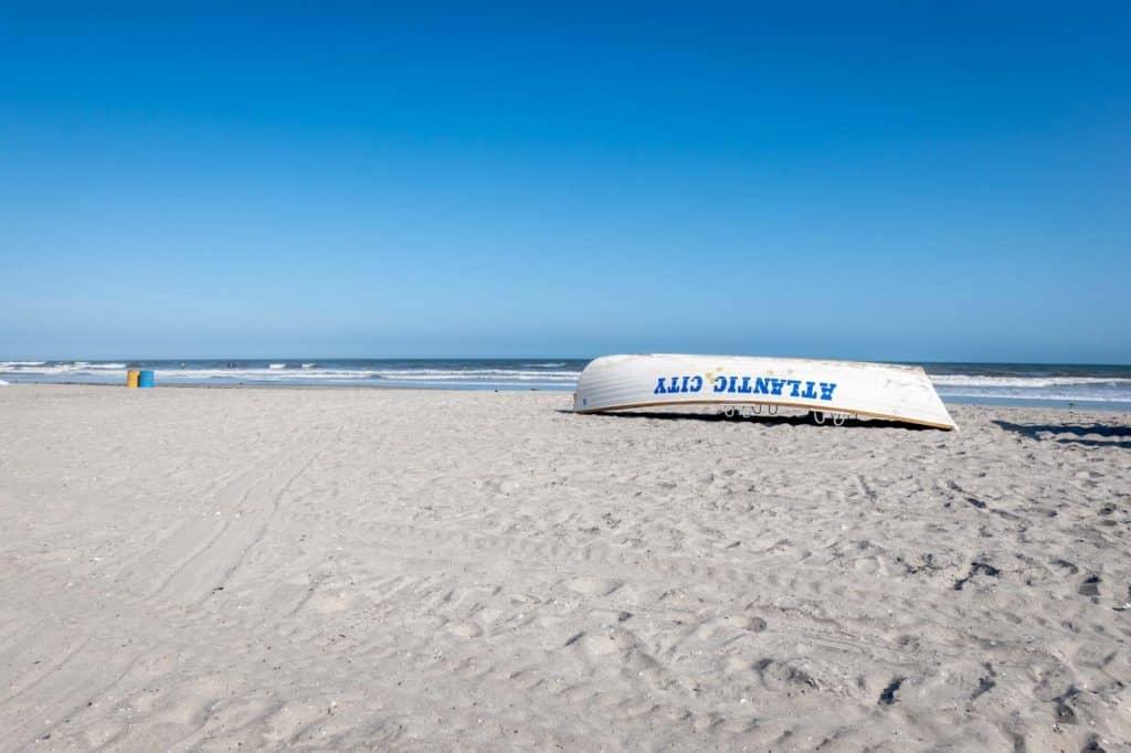 Upside down lifeguard boat in Atlantic City