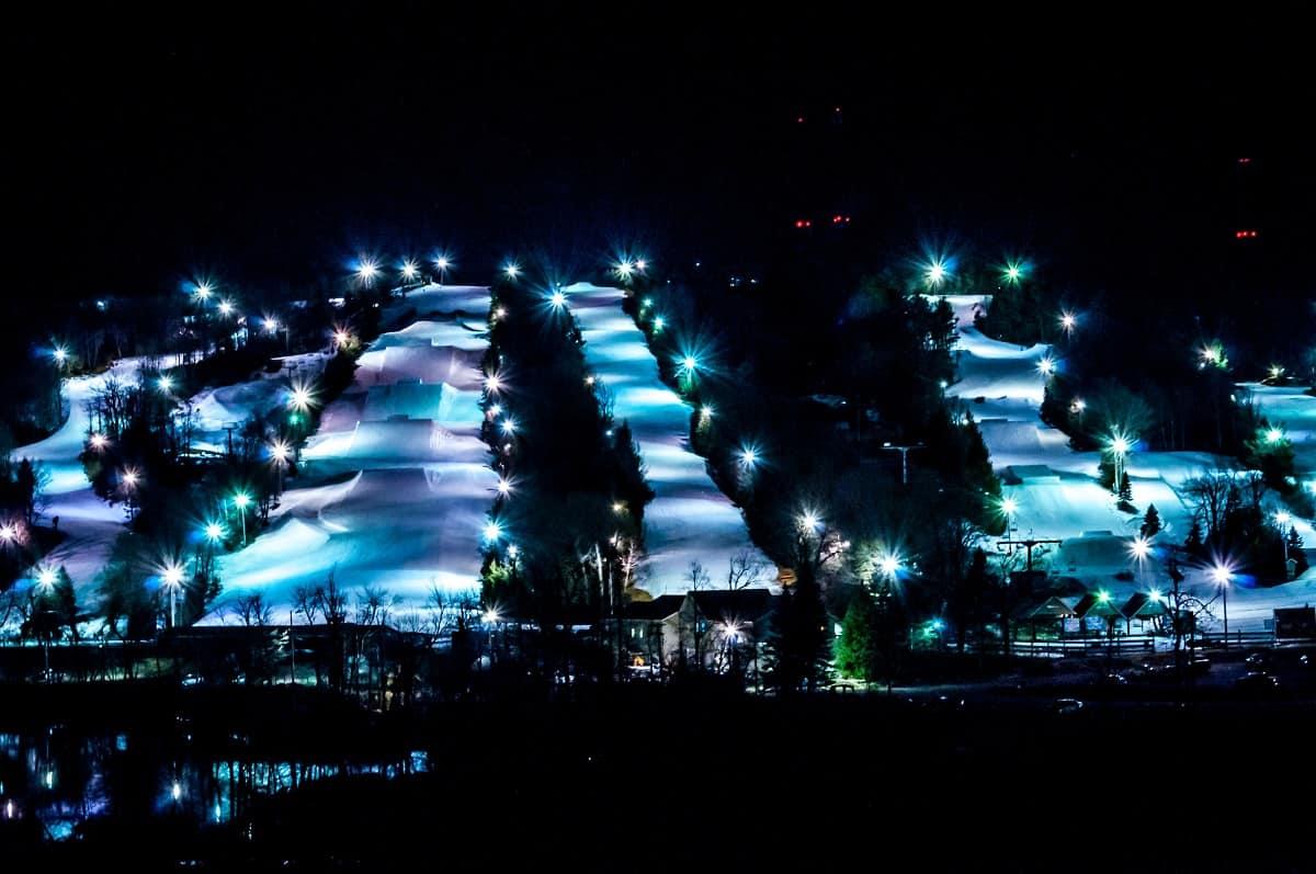 Ski resort illuminated for night skiing