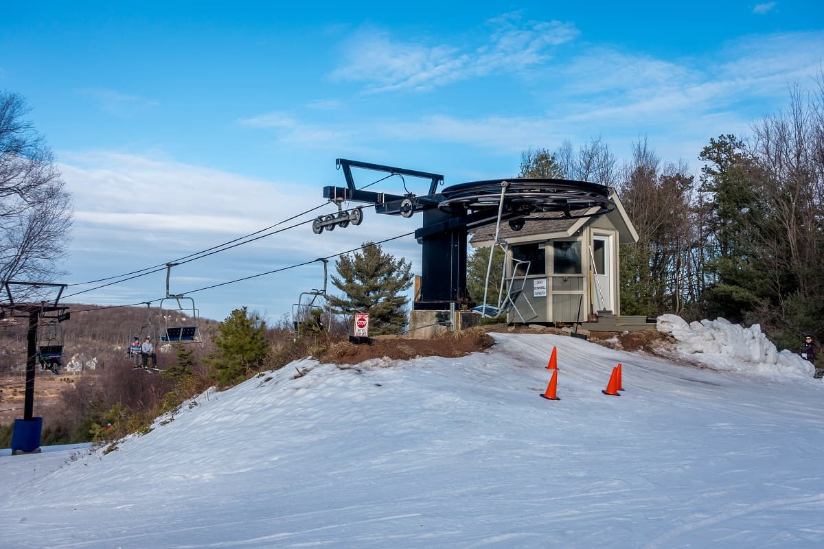 Top of a chairlift for skiers