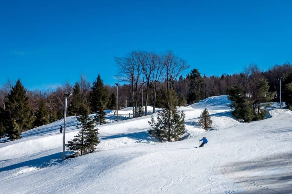 A skier on a slope in the Poconos Mountains