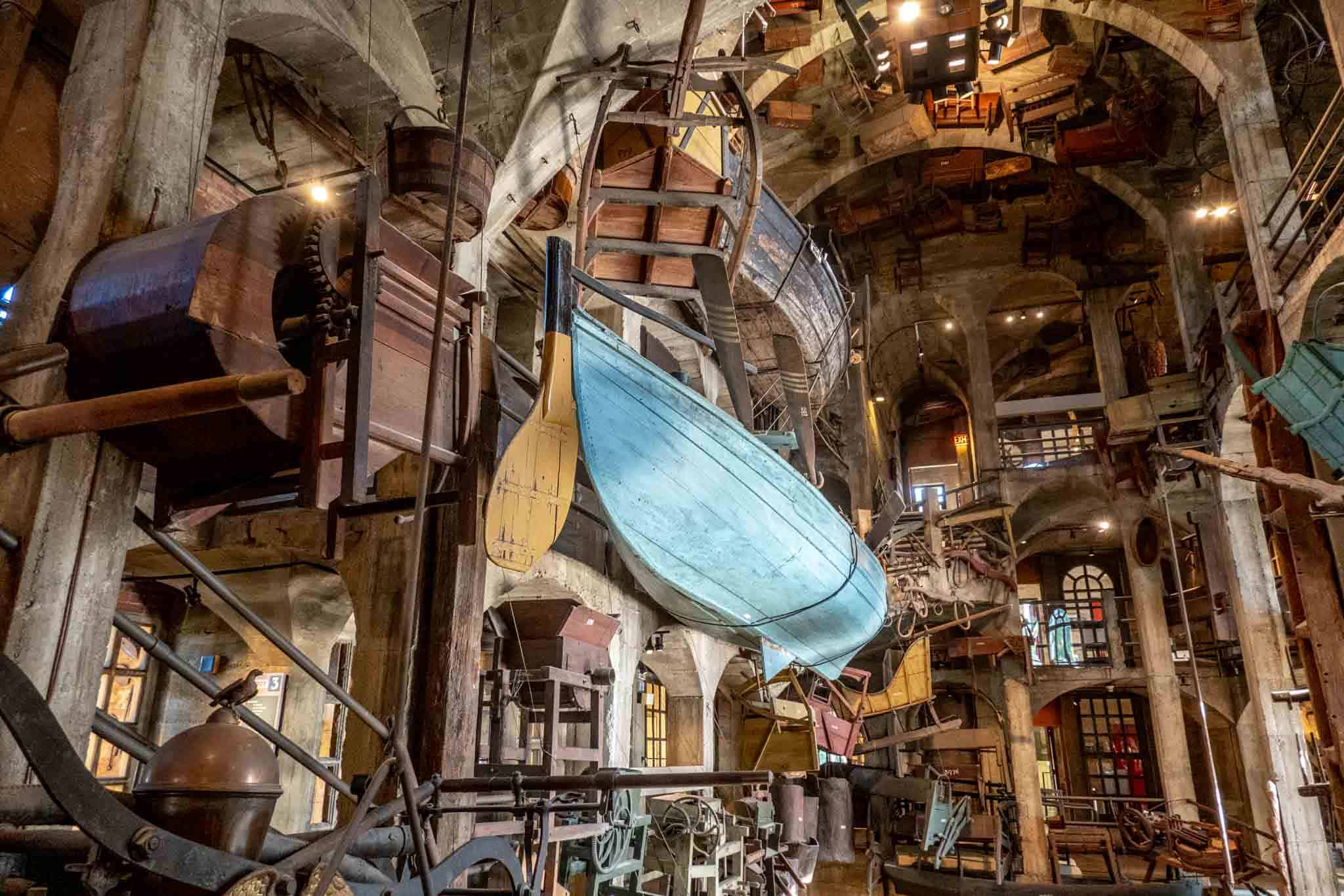 Boats hanging from the ceiling in Mercer Museum