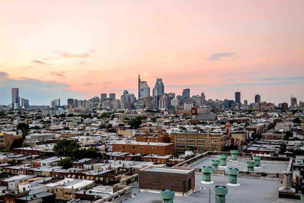 Philly skyline at sunset