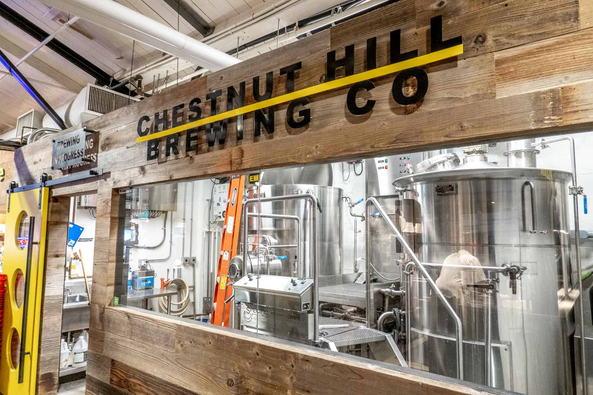 Brewing equipment at Chestnut Hill Brewing Co.