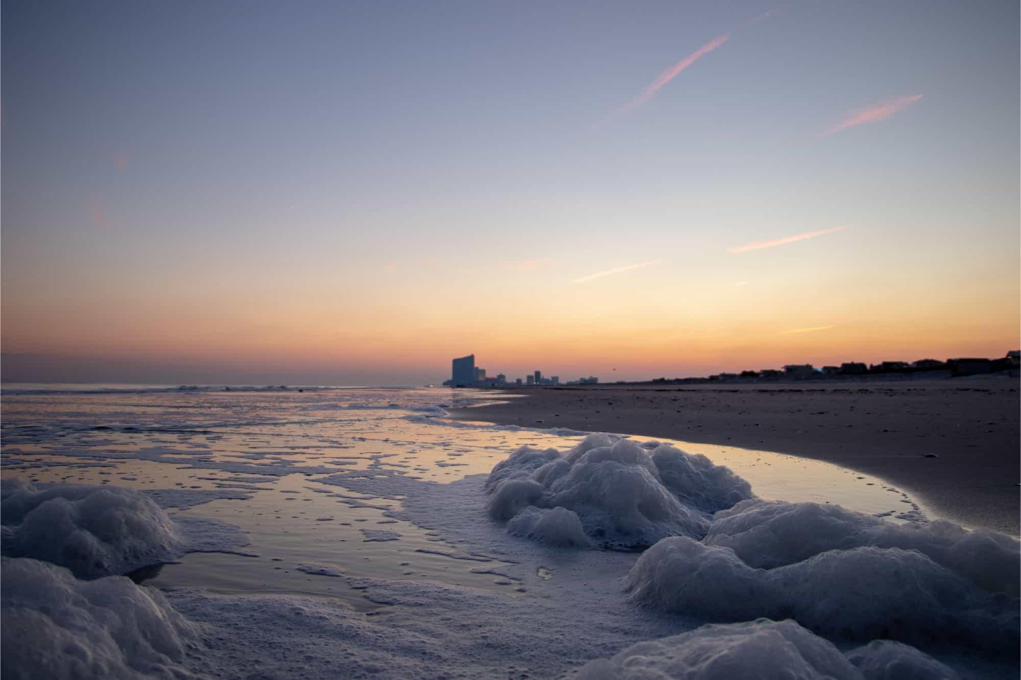 Receding tide on beach