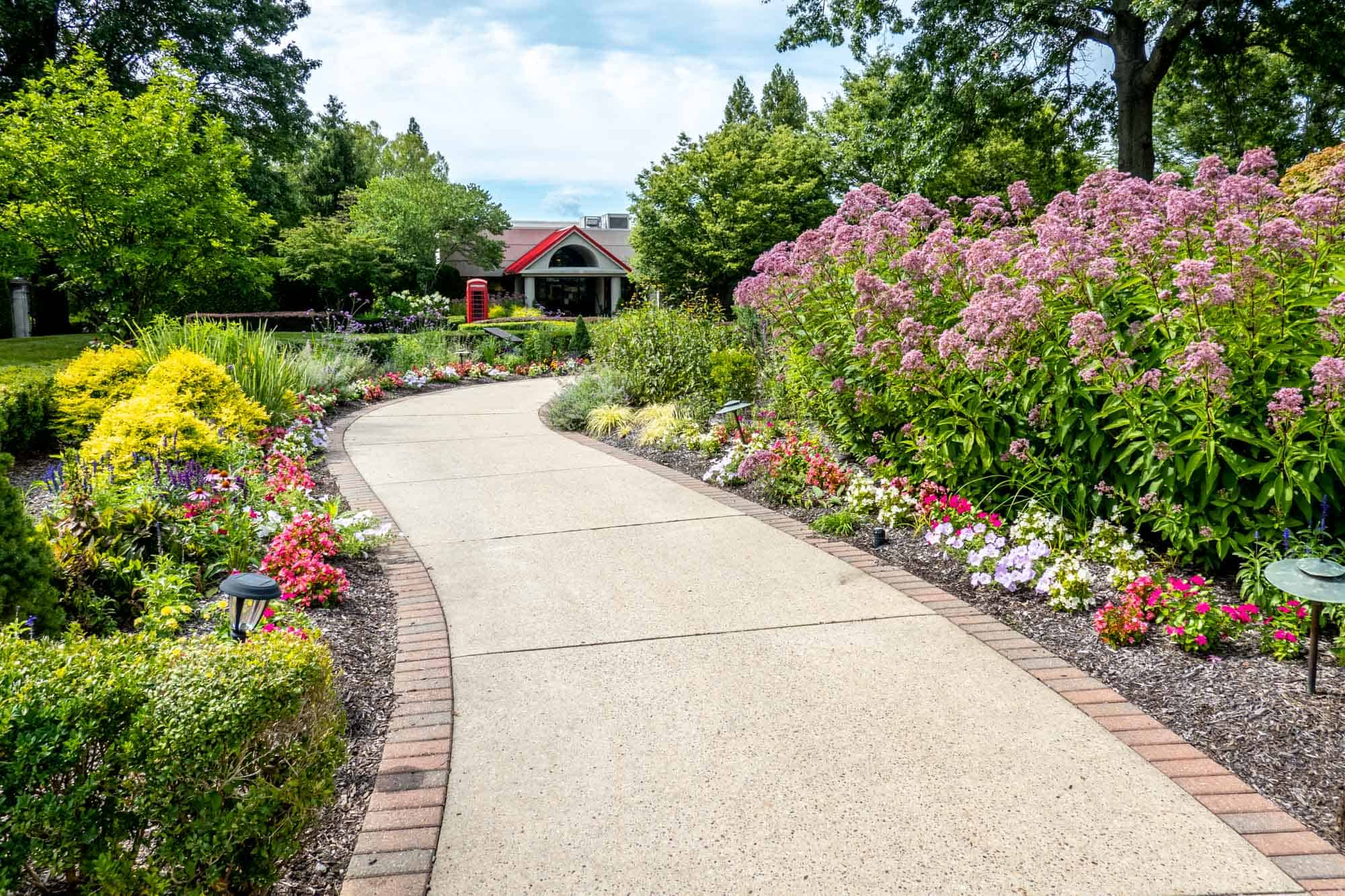 Gardens and concrete pathway