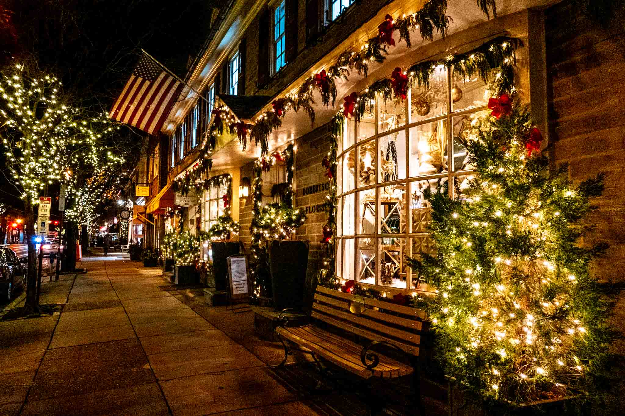Storefront decorated with holly and white lights