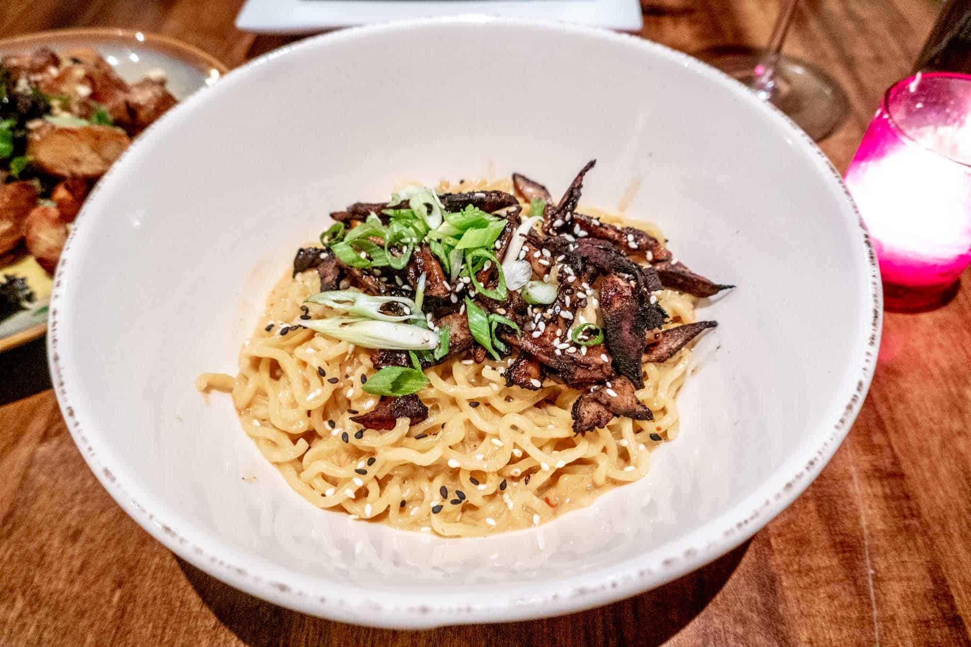 Noodles with mushrooms in bowl