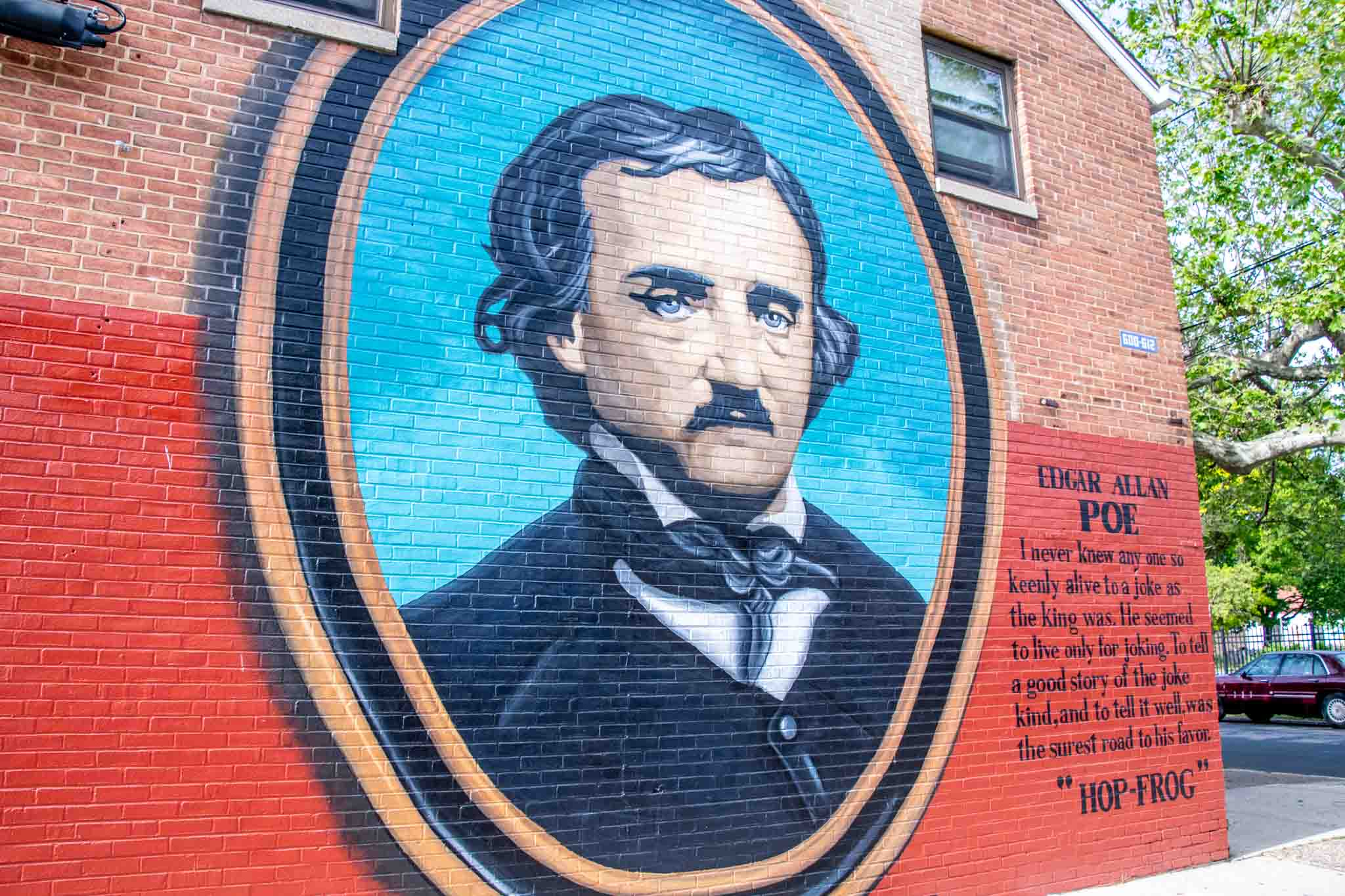 Mural of an old-fashioned portrait of Edgar Allan Poe in a black jacket