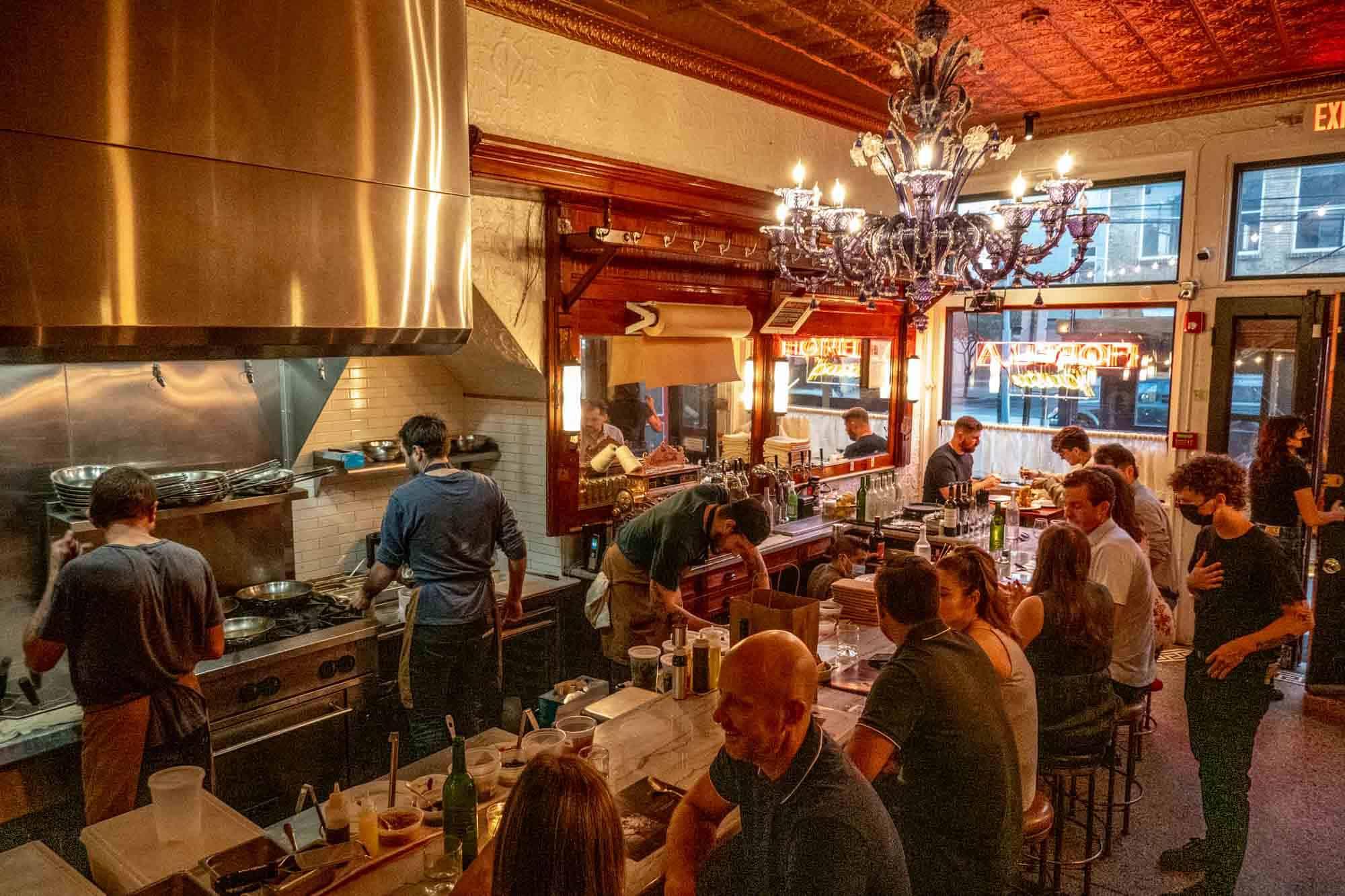 People eating inside Fiorella Restaurant