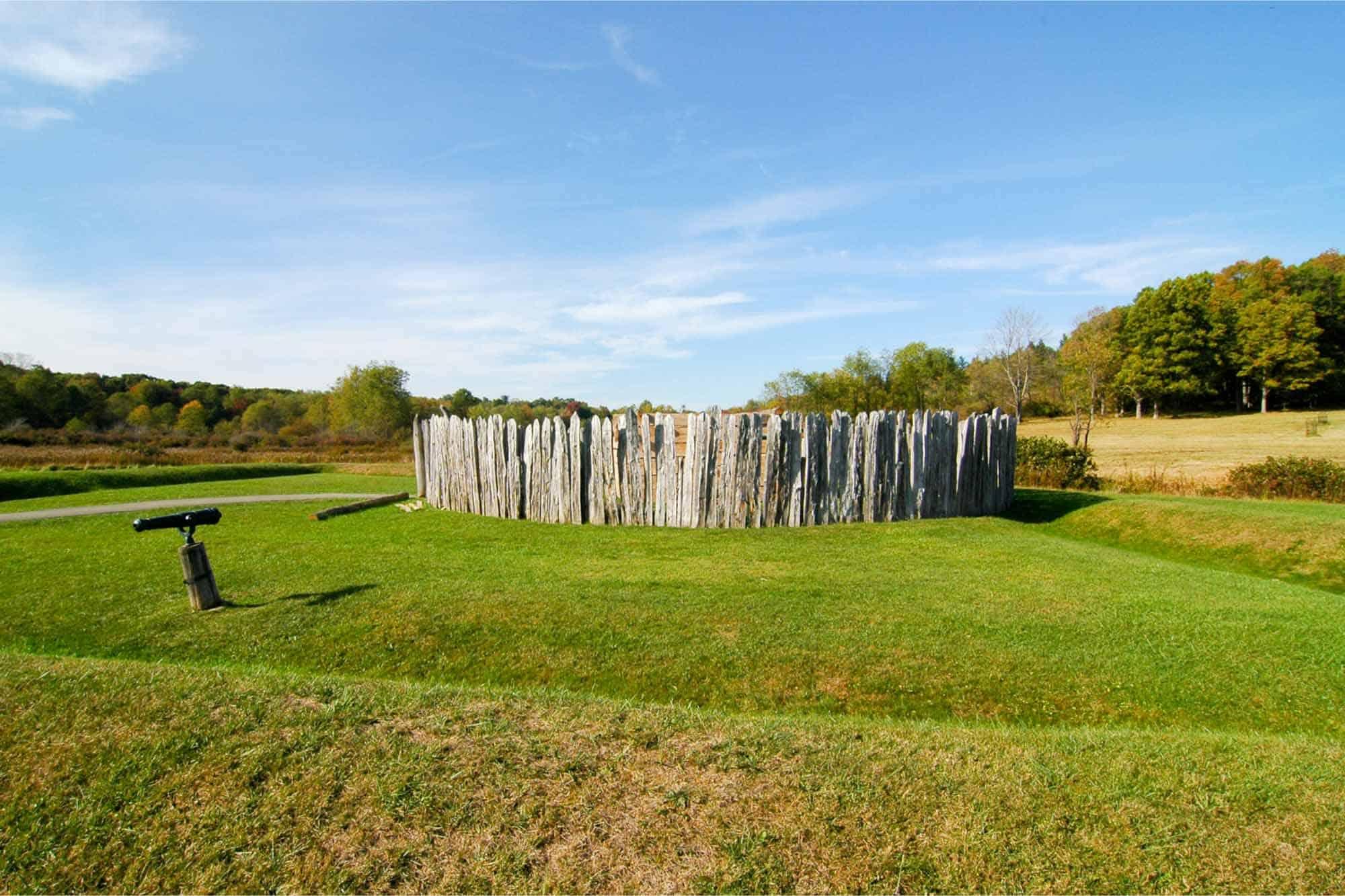 Wood fort in green field