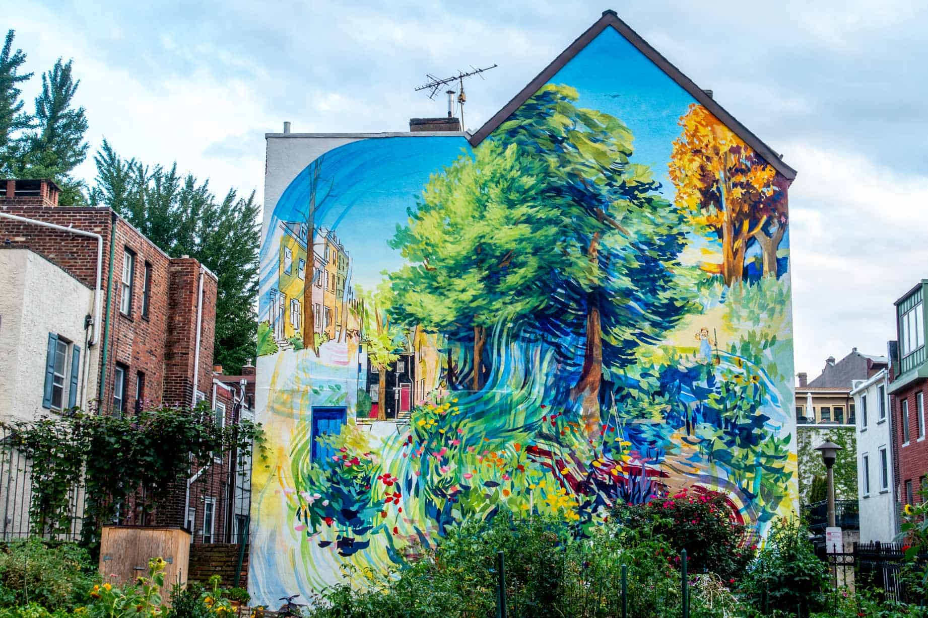 Mural of trees and flowers