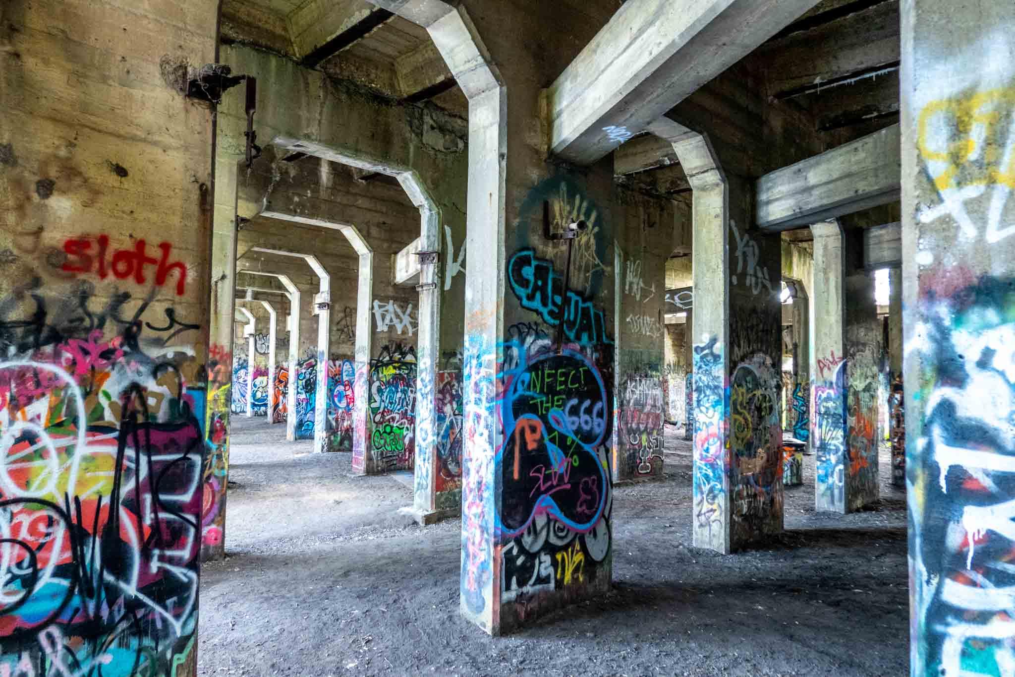 Graffiti on concrete columns