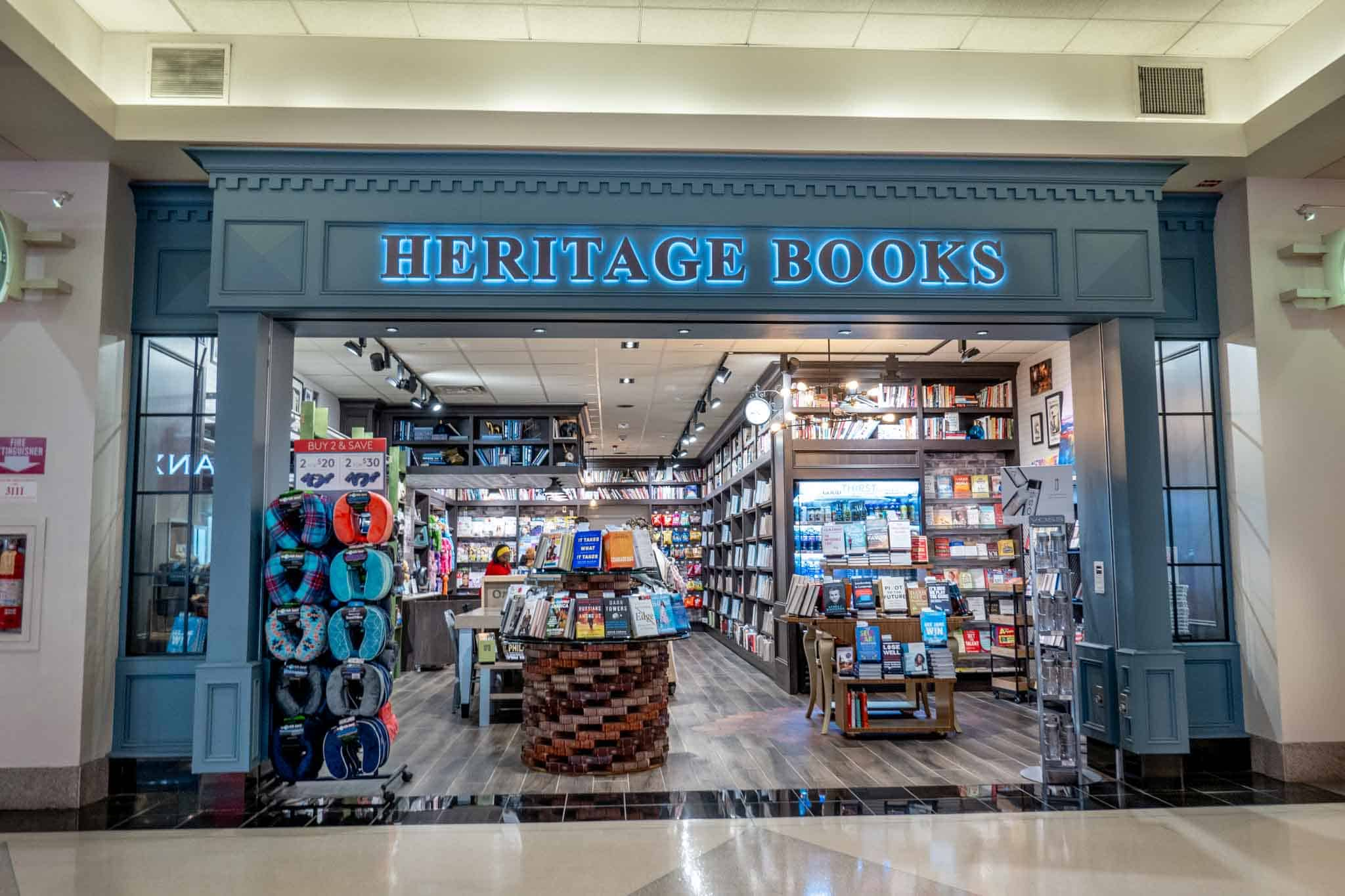 Exterior of Heritage Books store filled with book and magazine displays