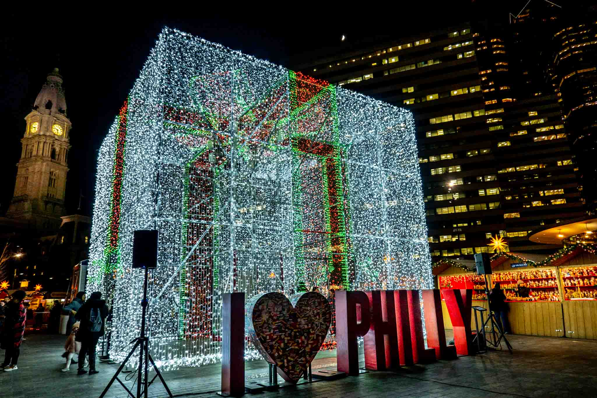 Present light sculpture with I Heart Philly sign