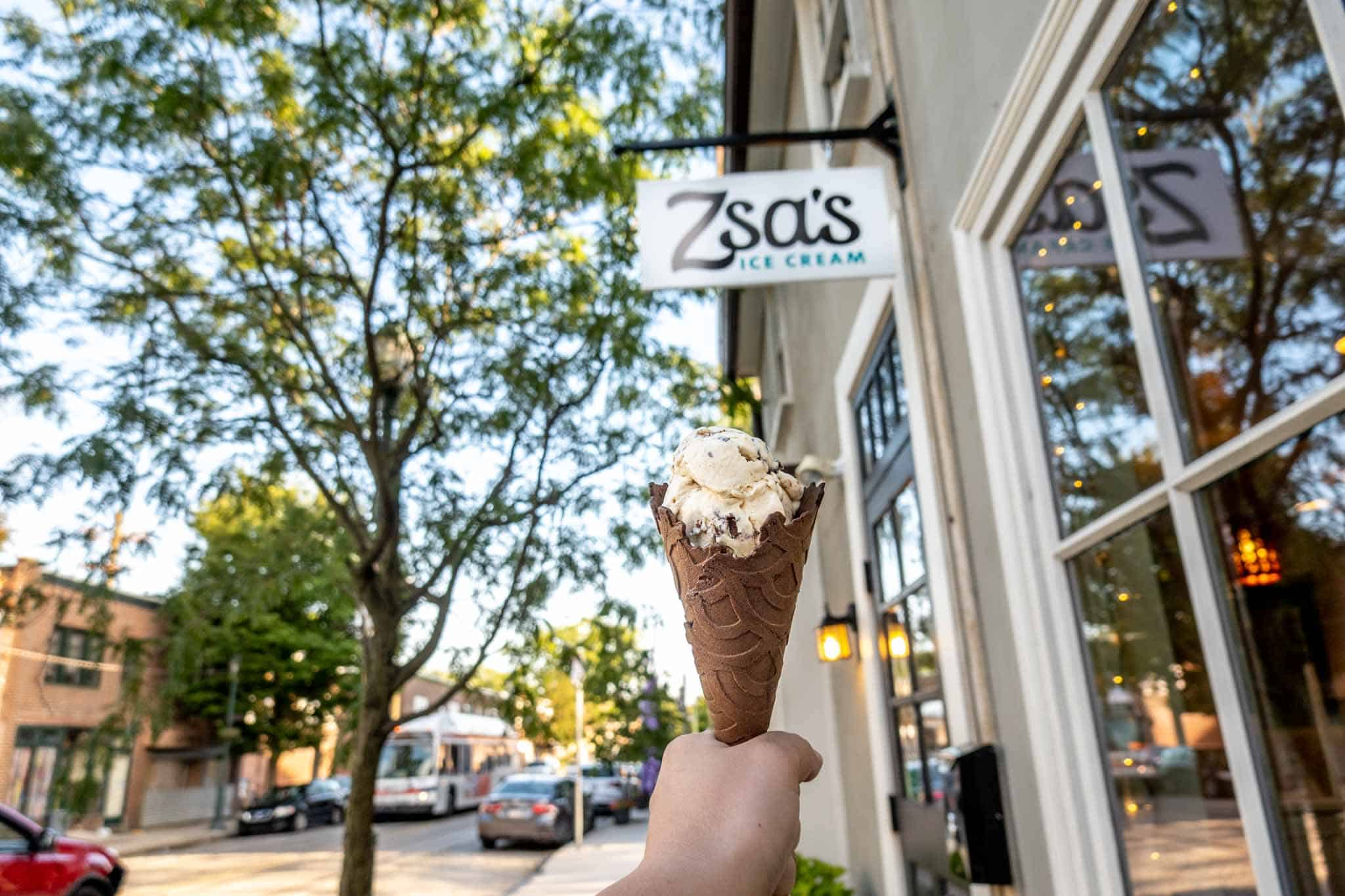 Cone in front of sign for Zsa's Ice Cream