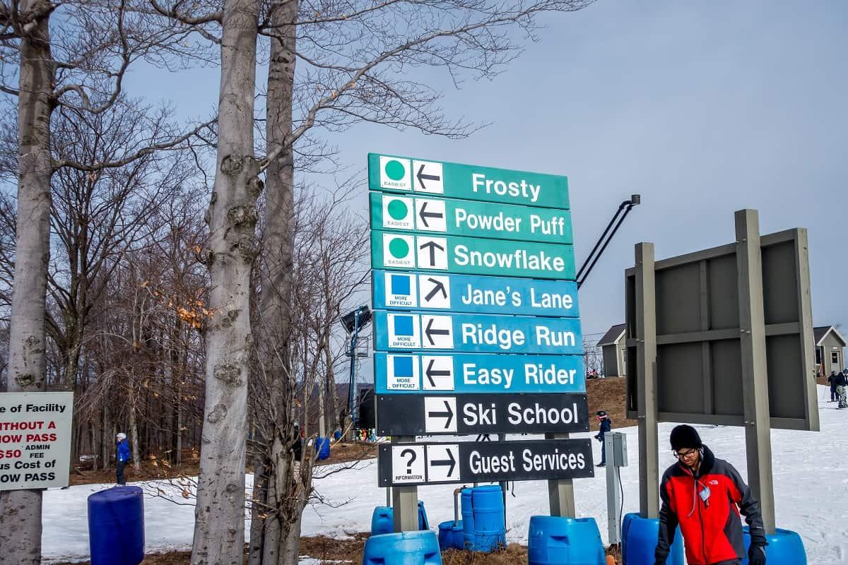 Sign for ski trails at resort