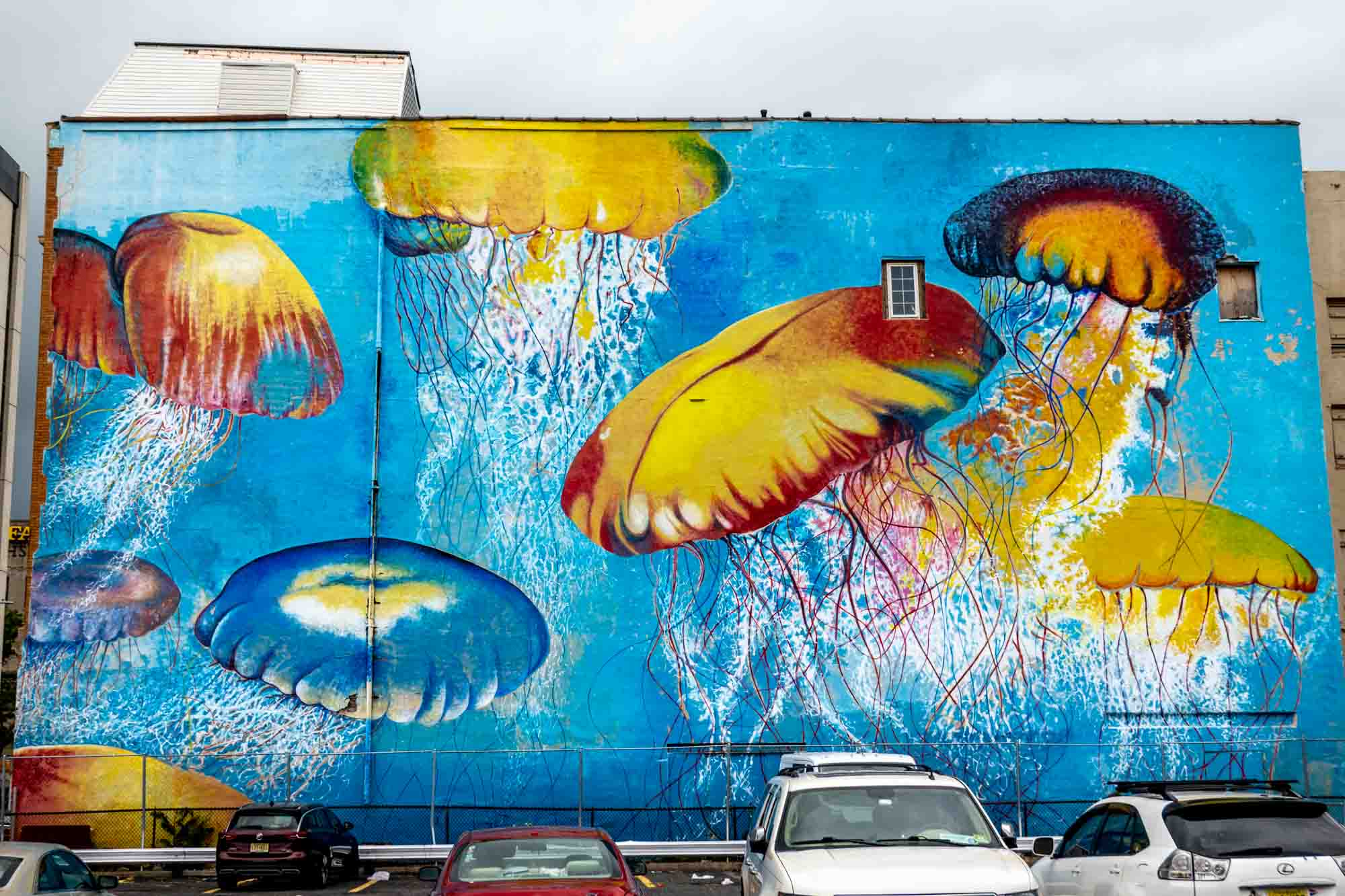 Mural of jellyfish in parking lot