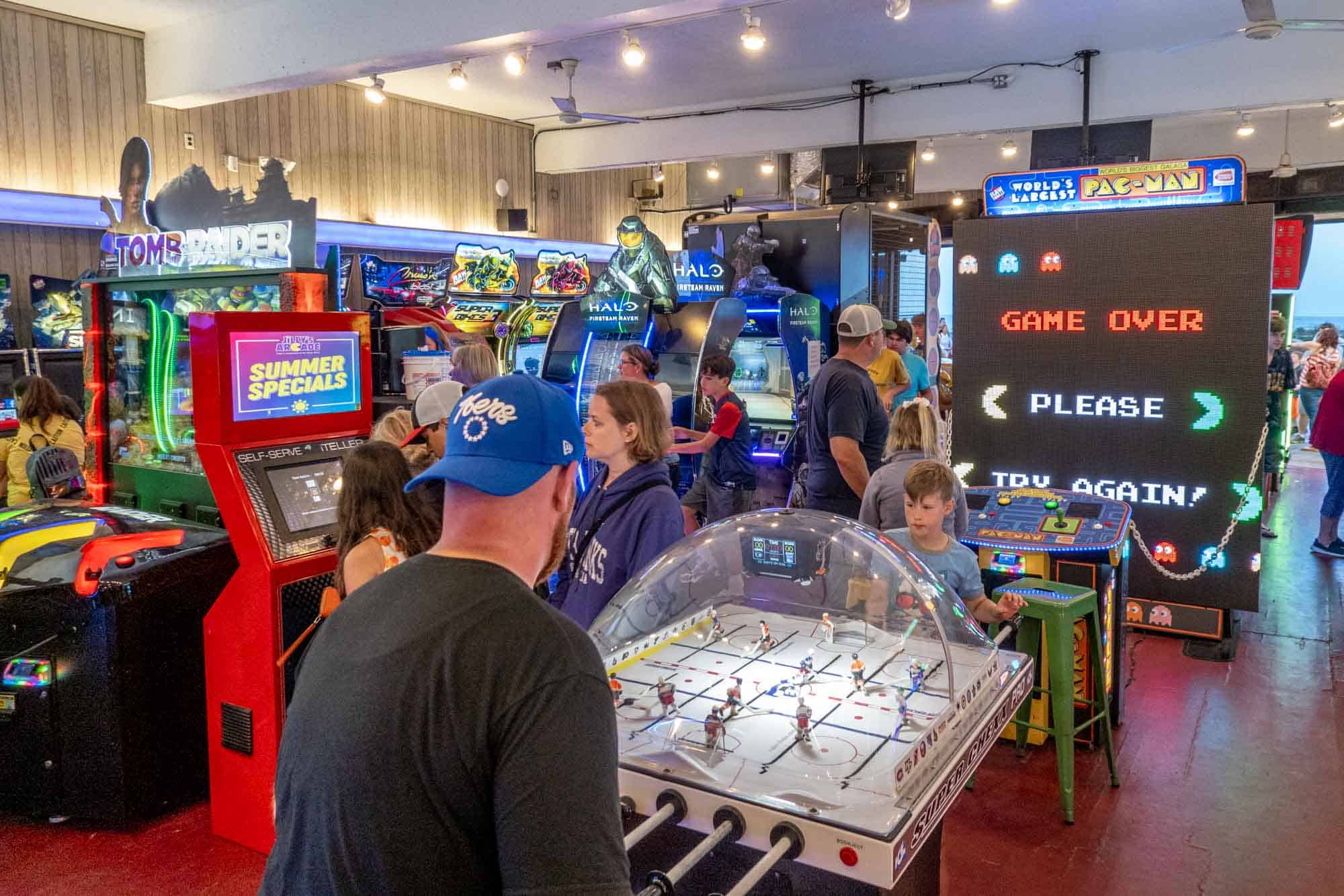 Foosball table at indoor arcade