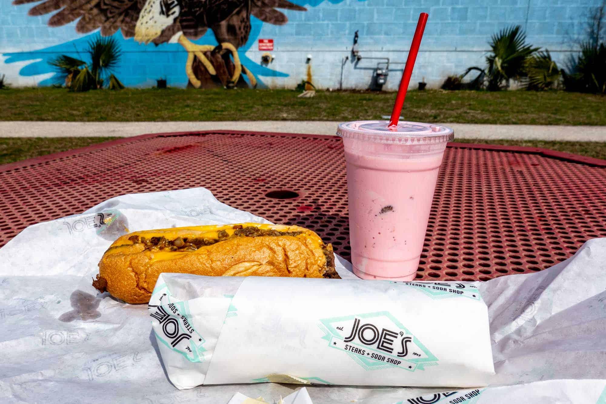 Joe's Steaks + Soda Shop cheesesteak and milkshake
