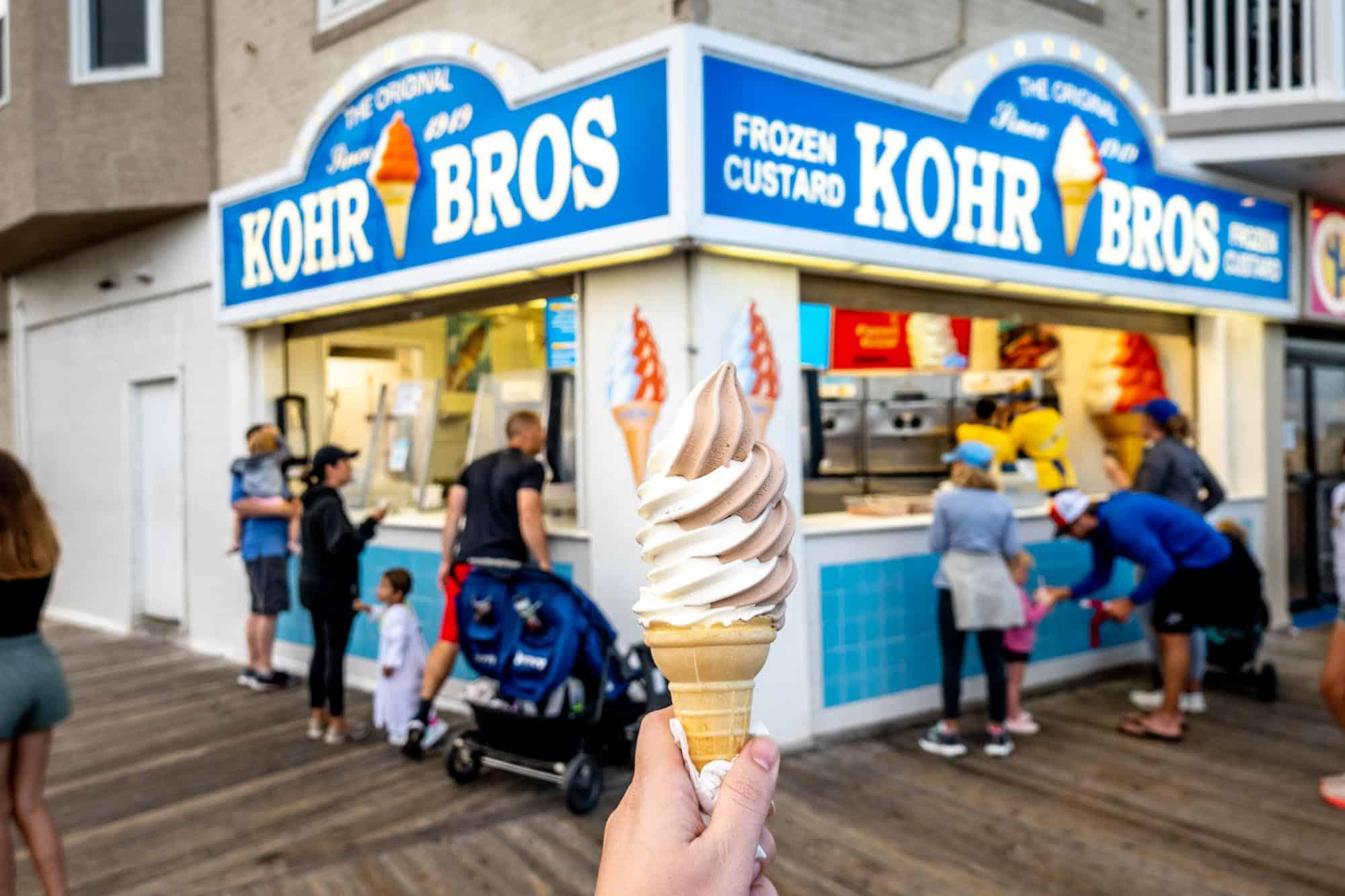 Frozen custard in front of Kohr Bros store