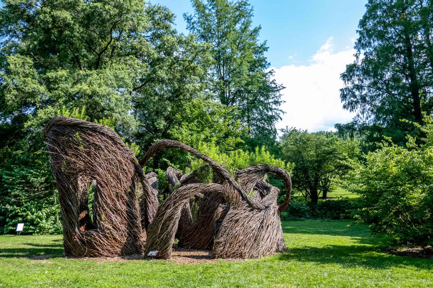 Sculpture made of twigs swirled together in a garden
