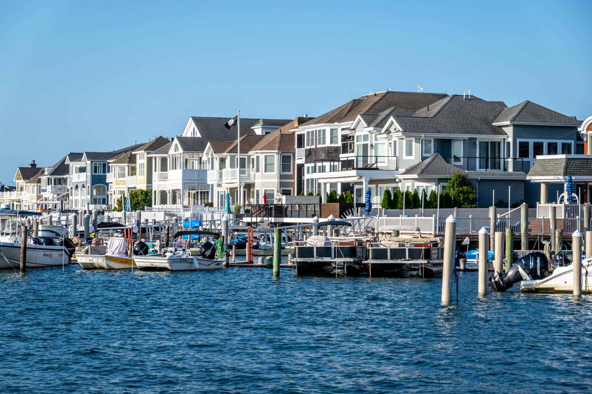 Homes along a bay with marina
