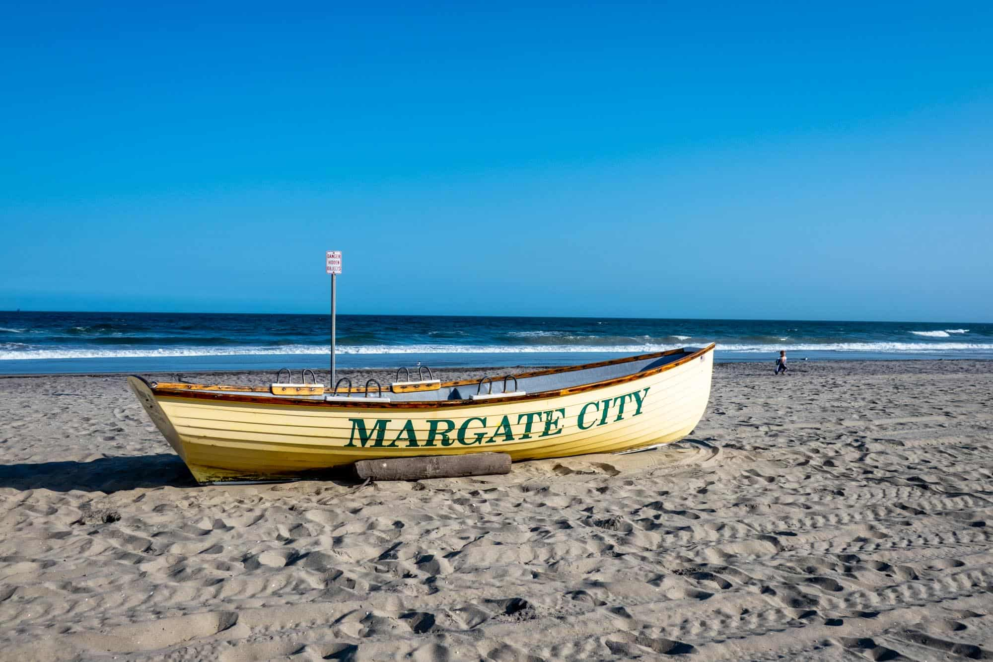 Margate City NJ lifeboat on sandy beach