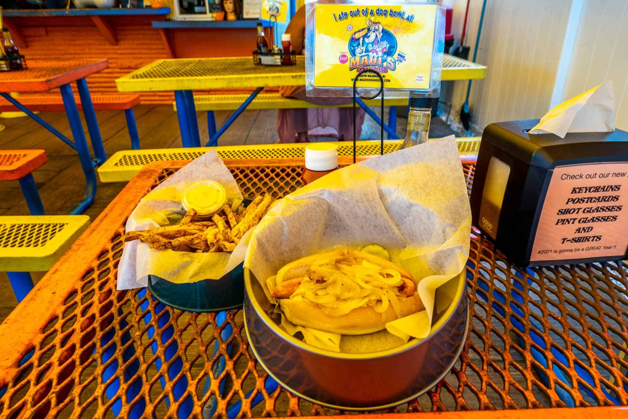 Hot dog and french fries served in dog bowl