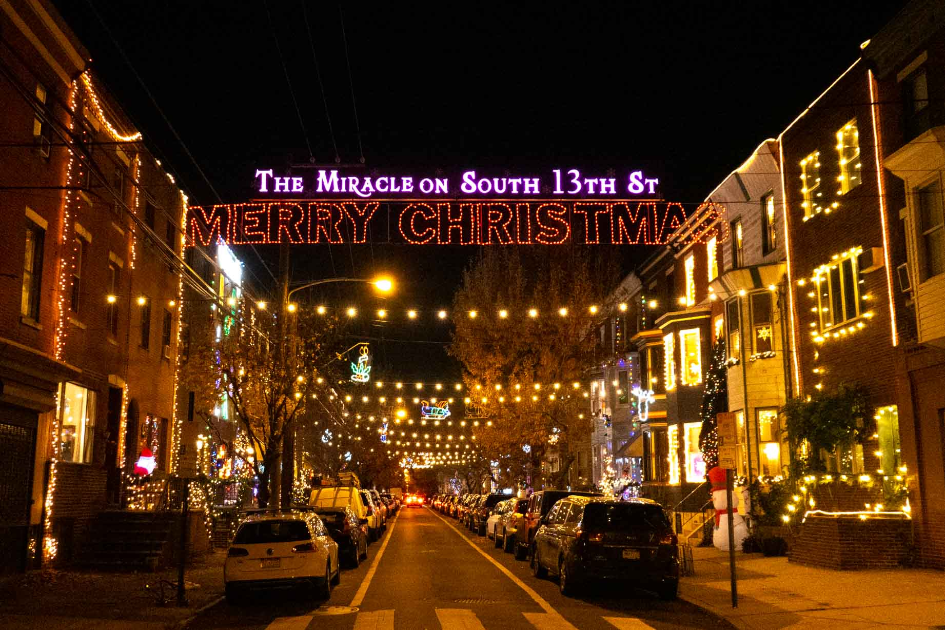 Illuminated sign: The Miracle on South 13th St, Merry Christmas