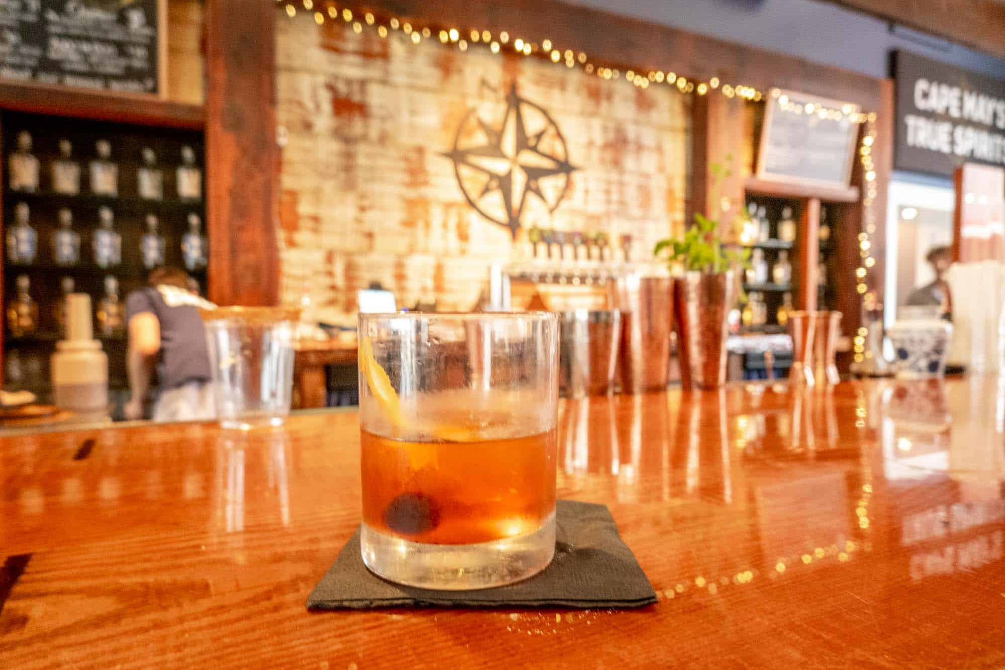 Craft cocktail on bar