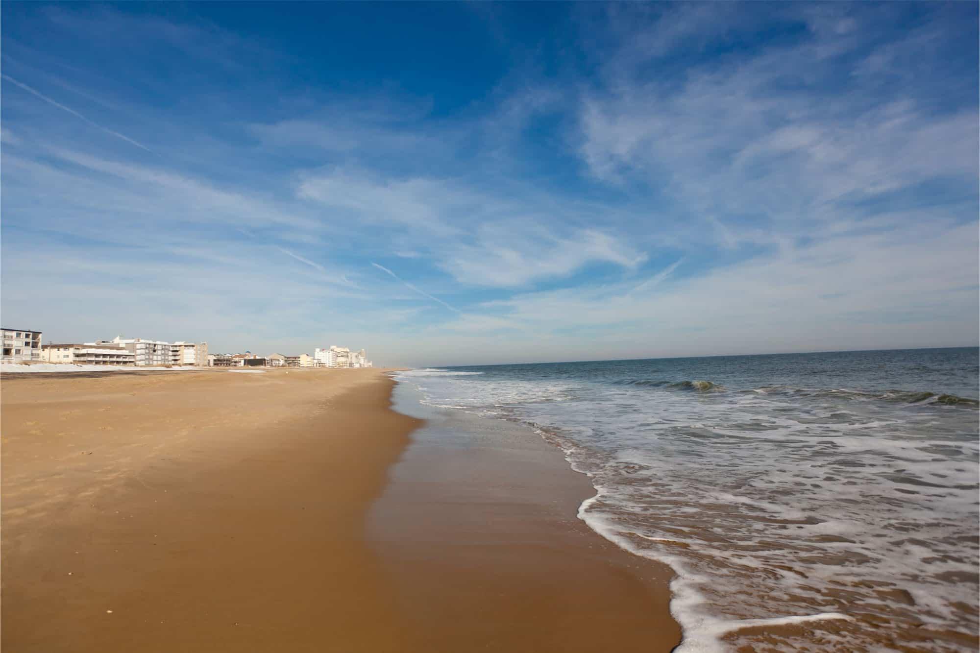 Hotels along sandy beach