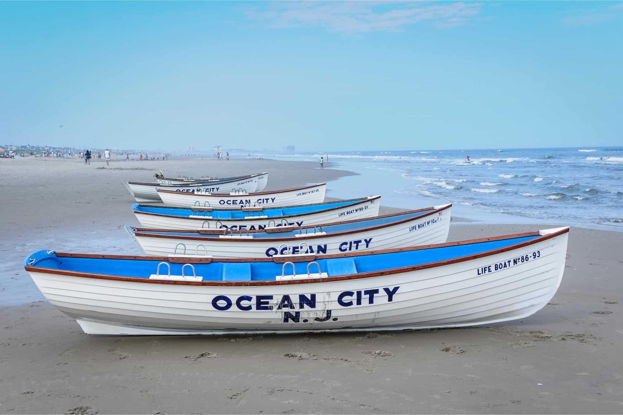 White Ocean City N.J. life boats on beach
