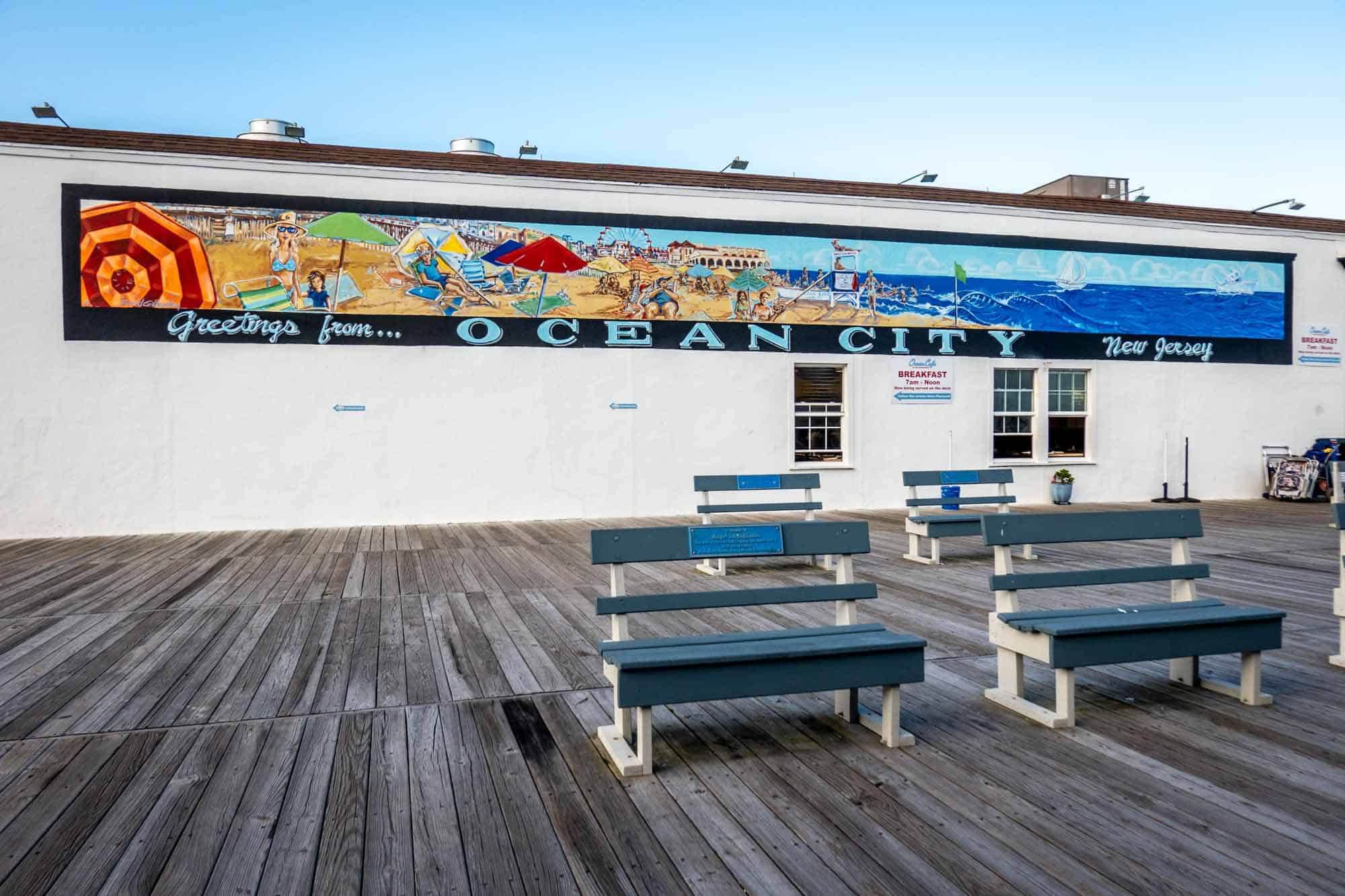 Greetings from Ocean City New Jersey mural along the Boardwalk