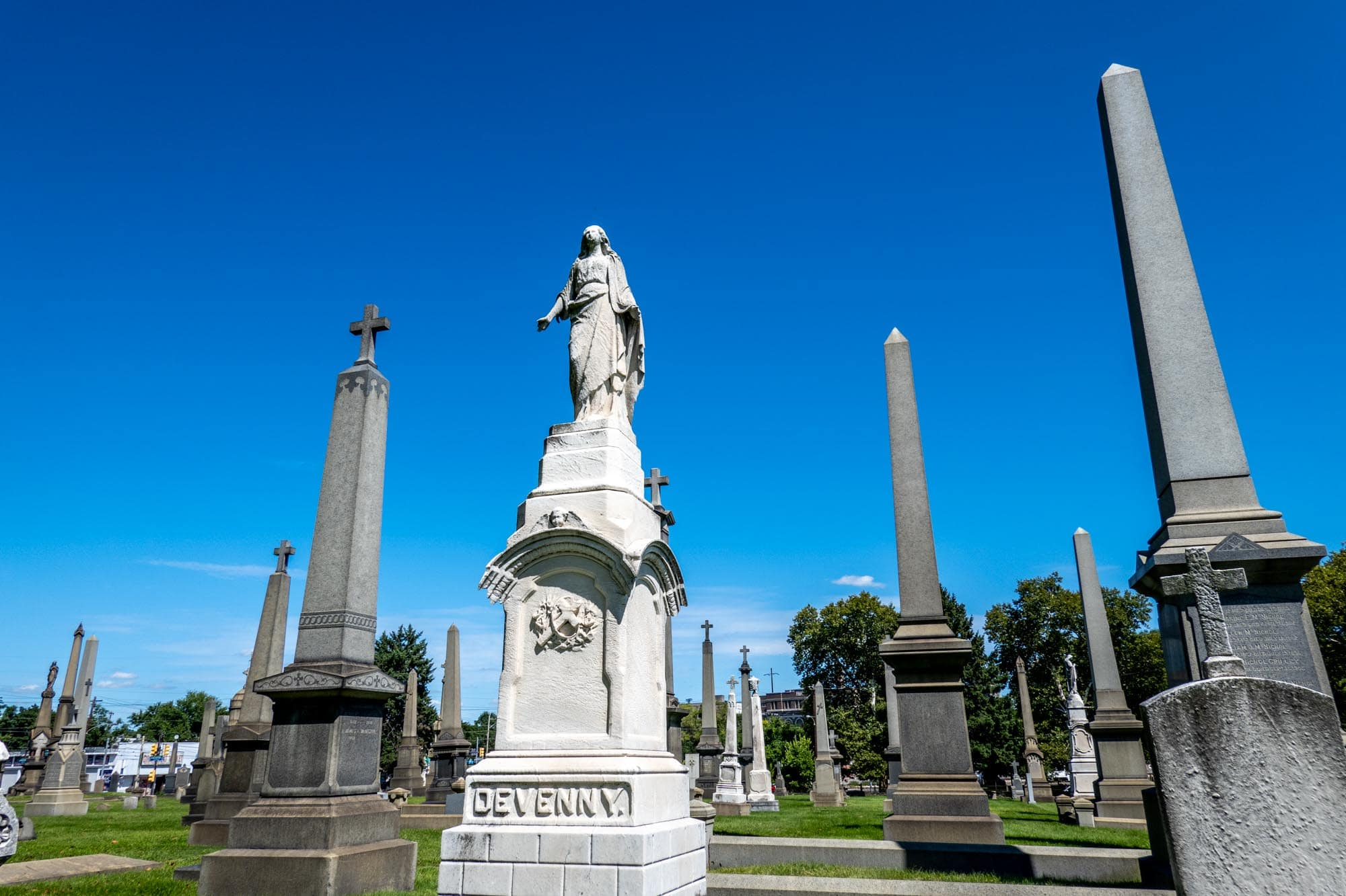 Monuments and obelisks in a cemetery