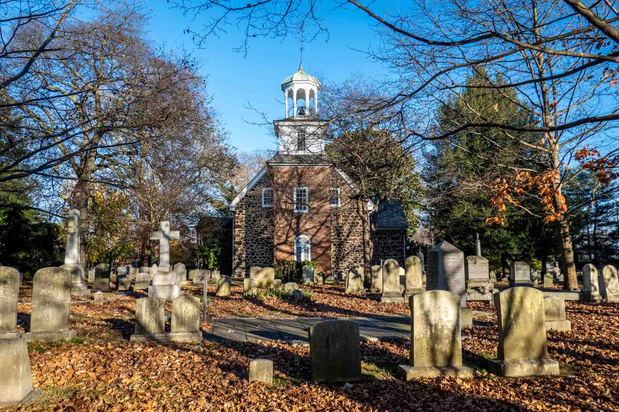 Old Swedes Church with tombstones