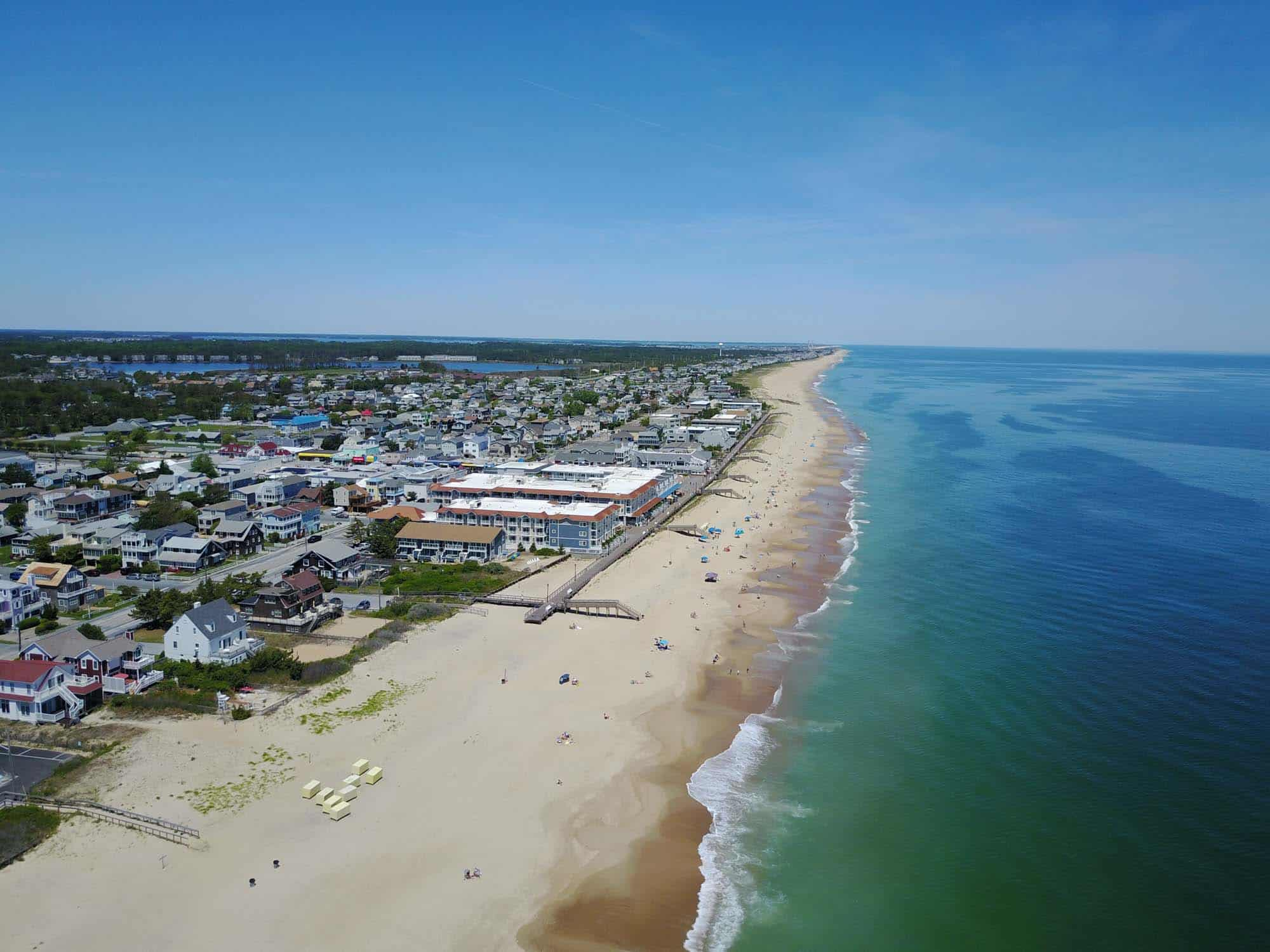 Aeriel photo of beach and town