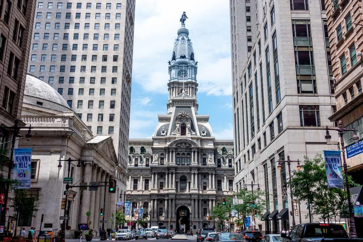 Front of Philadelphia City Hall, as seen looking north on Broad Street with buildings on both sides