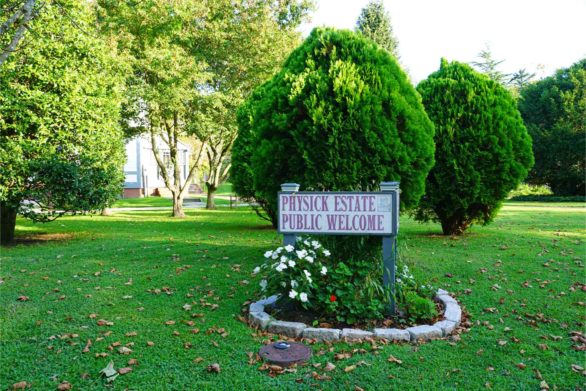 """Sign reading """"Physick Estate Public Welcome"""""""