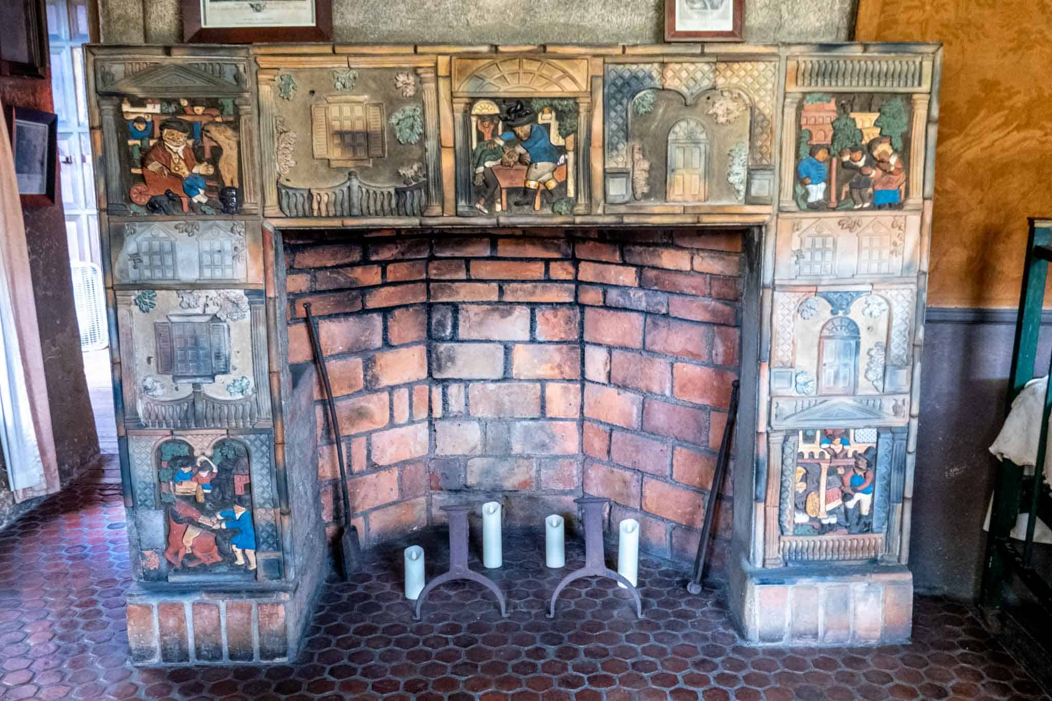 Ceramic tilework on a fireplace