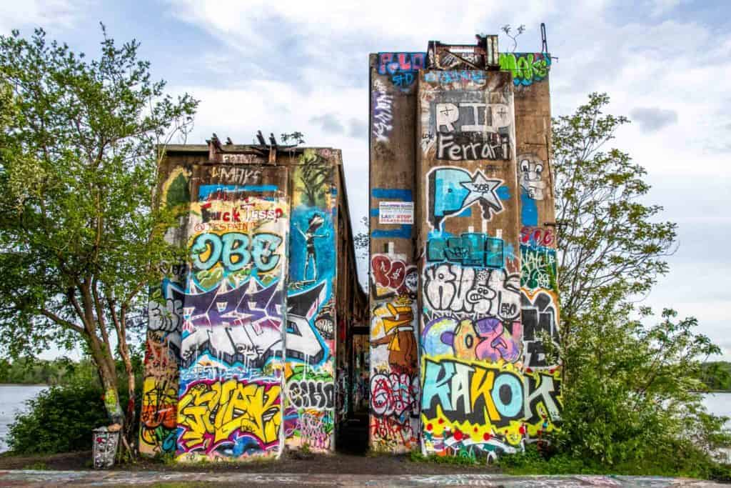 The support columns at the Philadelphia Graffiti Pier on the Delaware River.