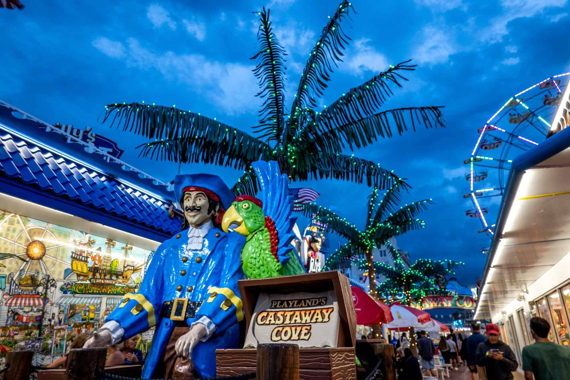 Pirate and parrot at Playland's Castaway Cove entrance