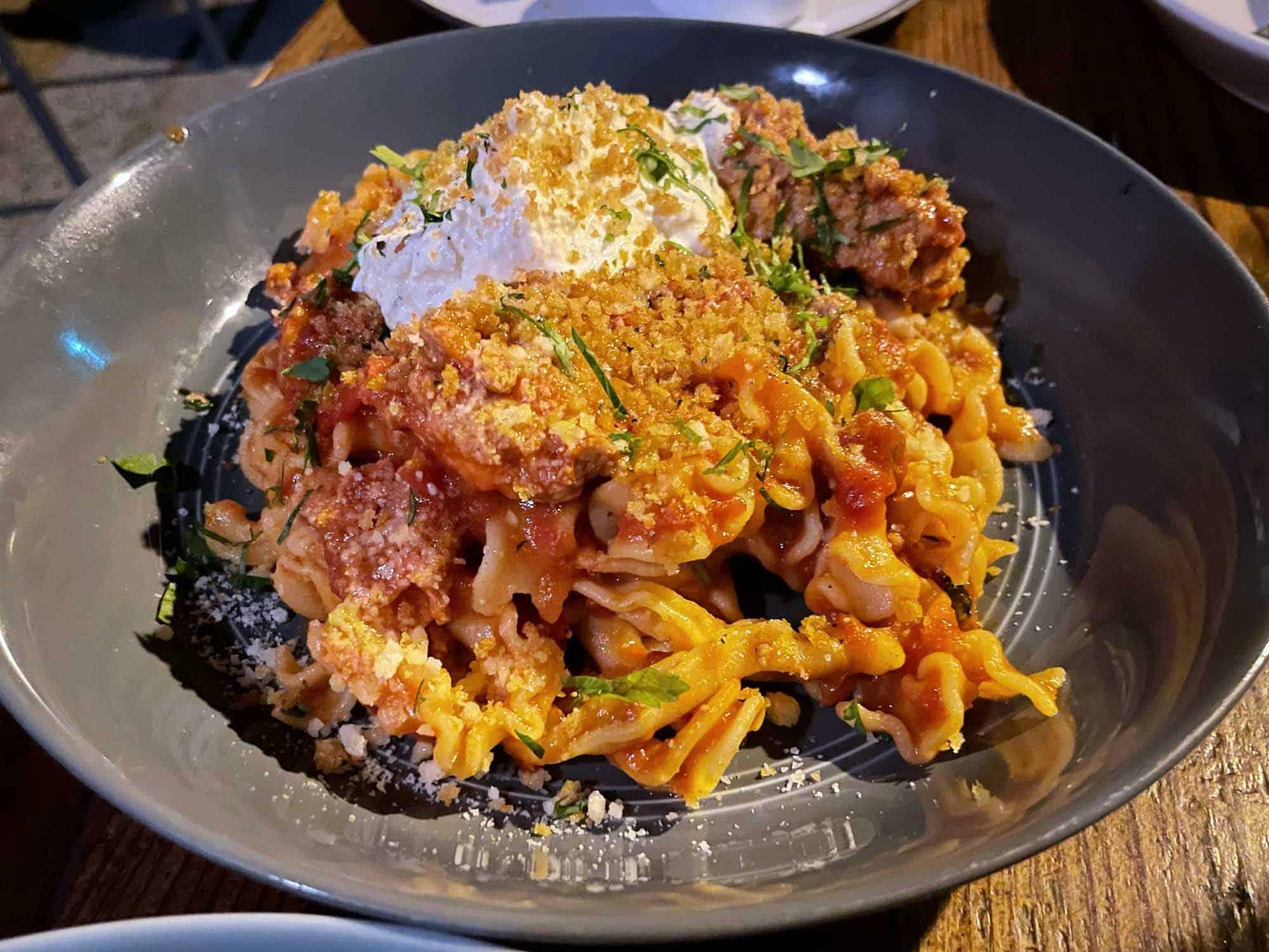 Pork ragu pasta in bowl