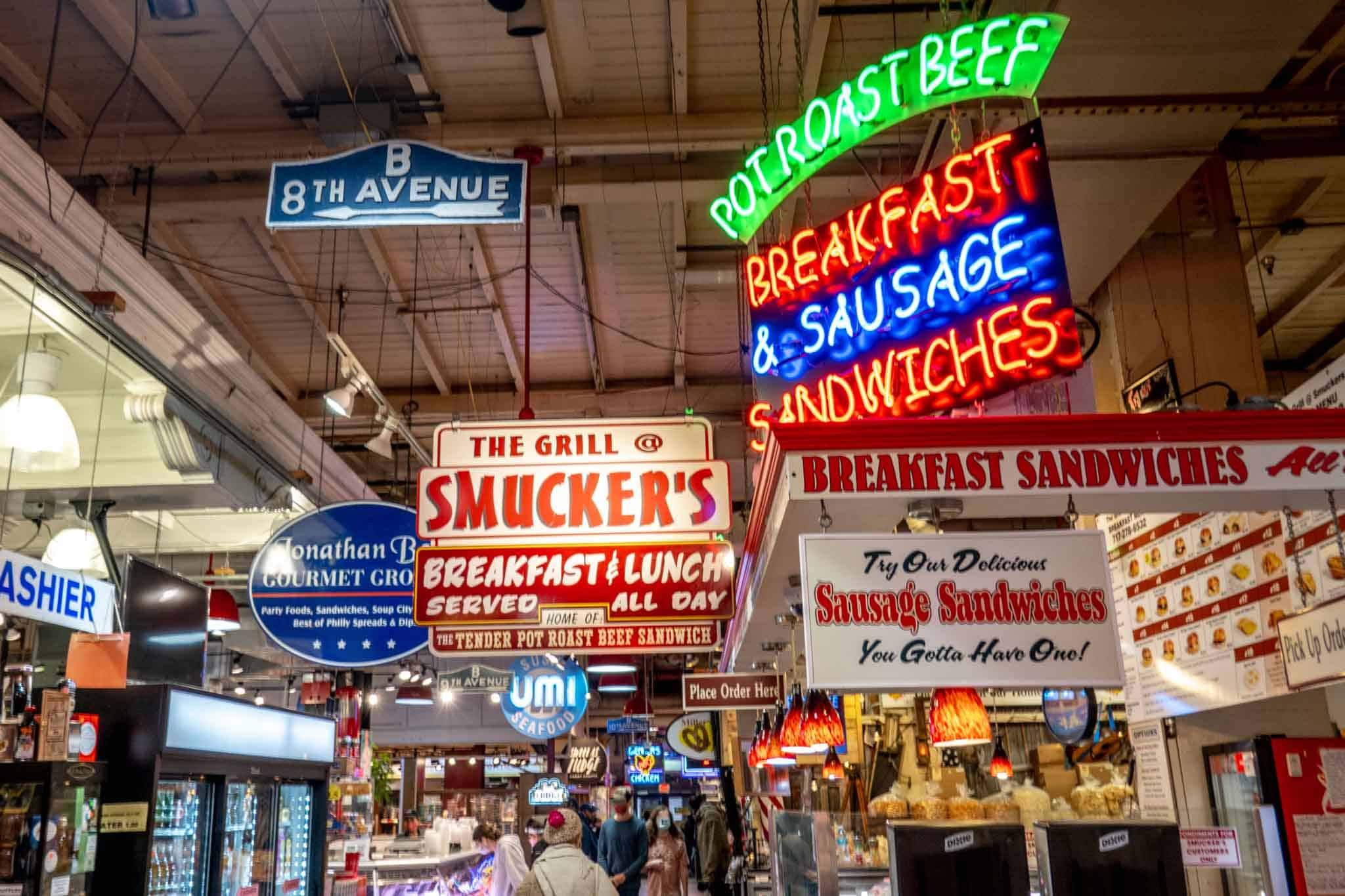 Signs for businesses in a food market