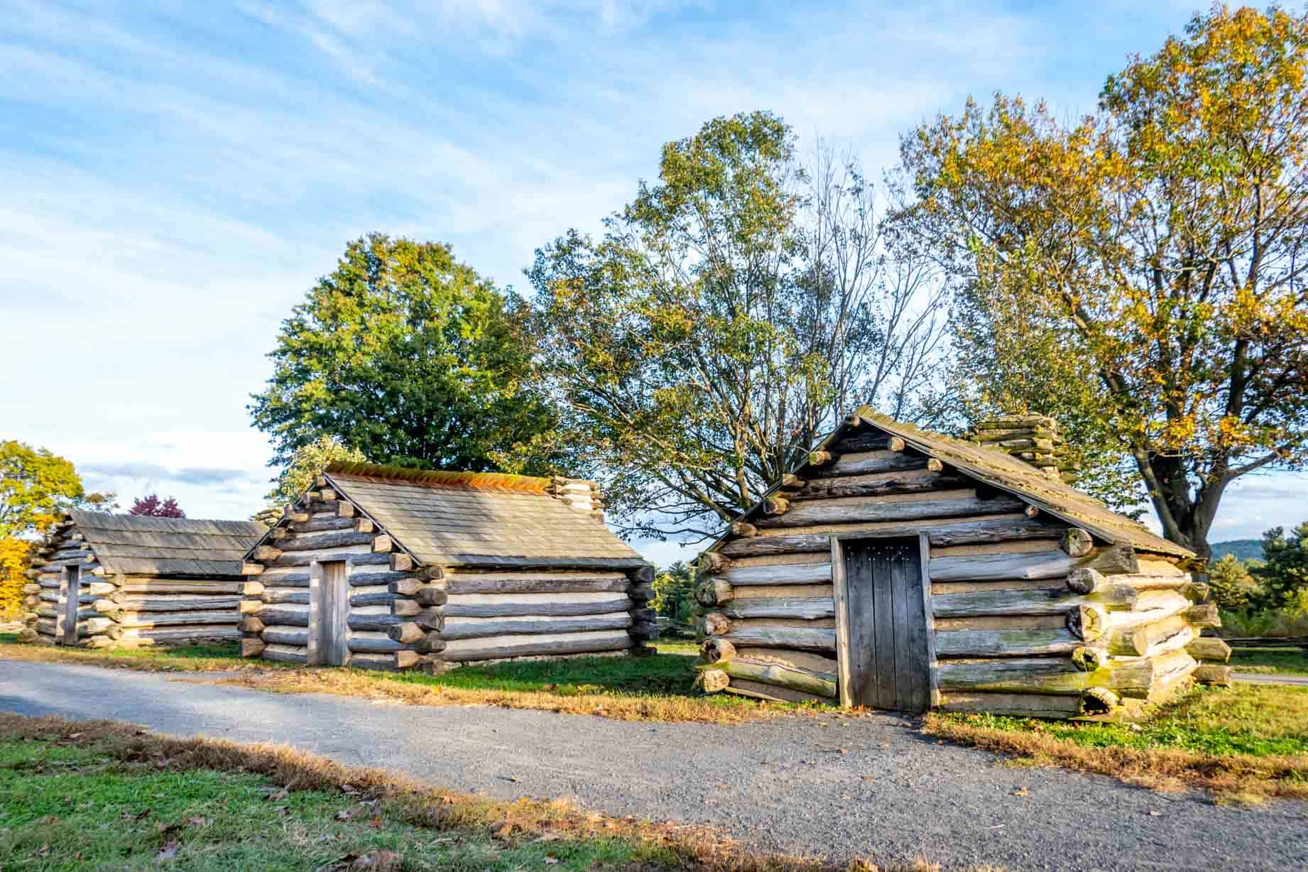 Three replica Revolutionary War cabins at Valley Forge National Historical Park