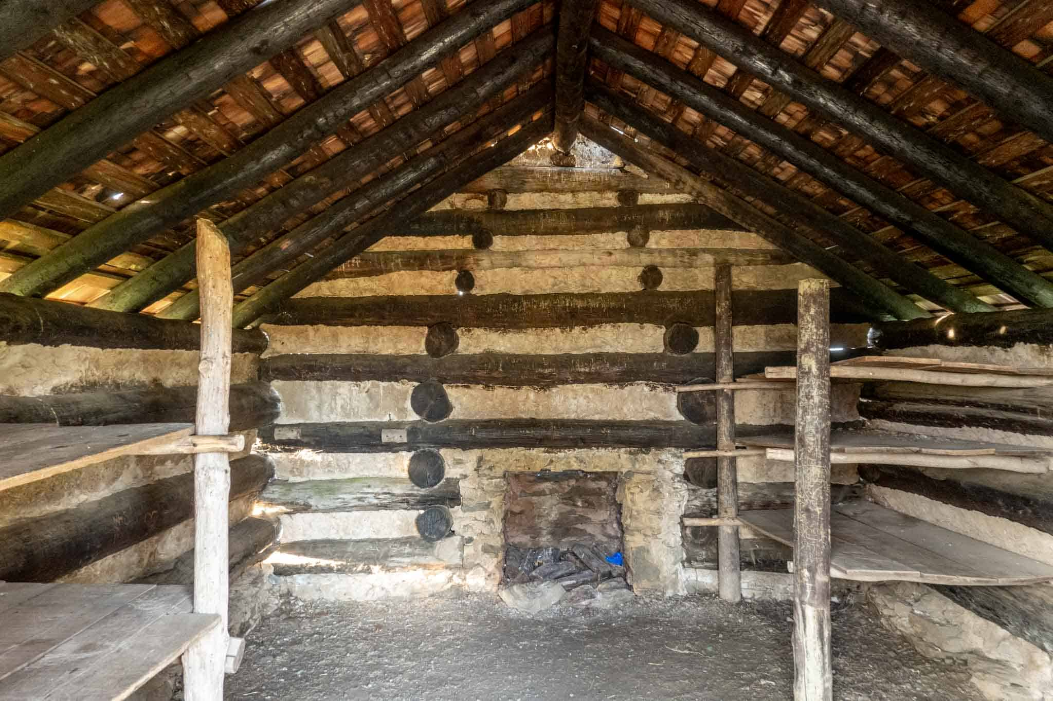 Bunks inside Revolutionary War cabin