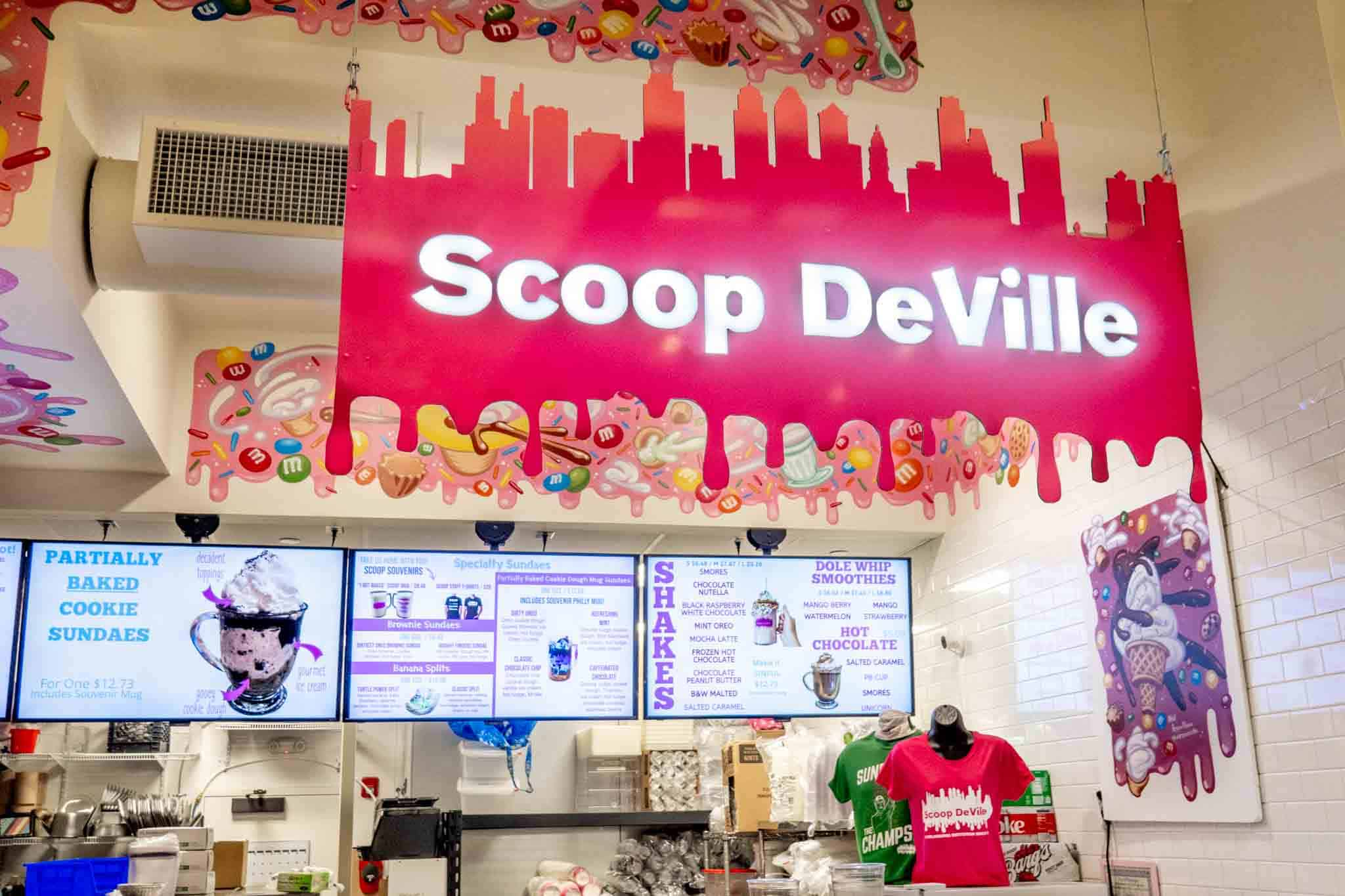 Scoop DeVille food stand with signage and posted menus