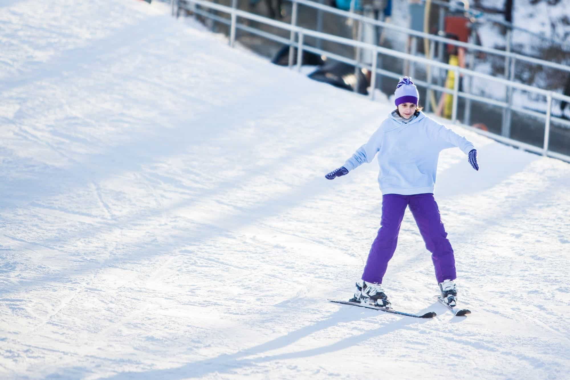 A young girl learning to ski in Pennsylvania