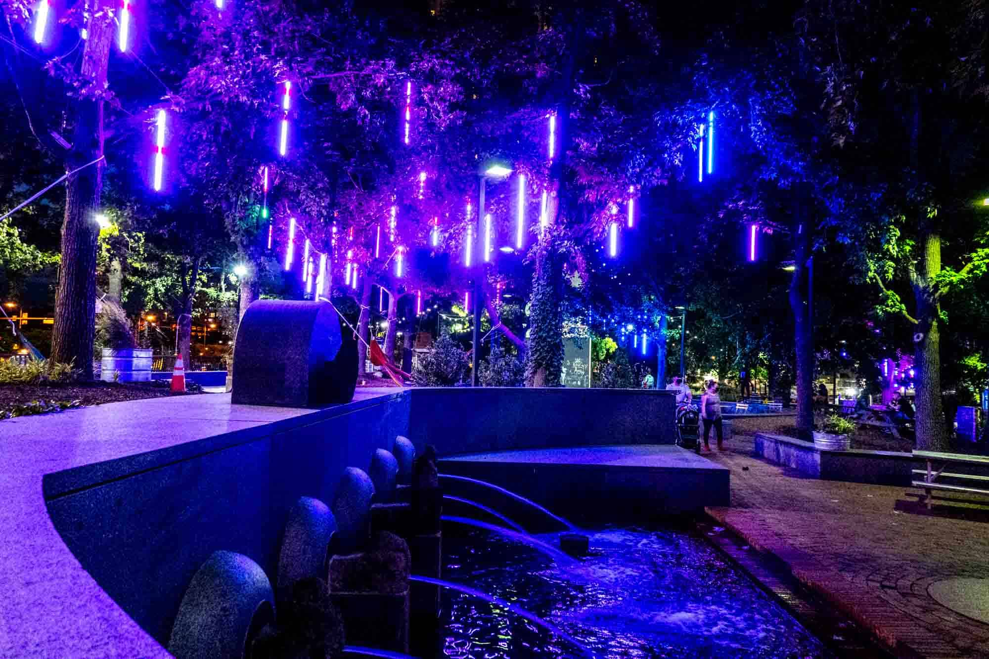 Fountain at night with blue lights