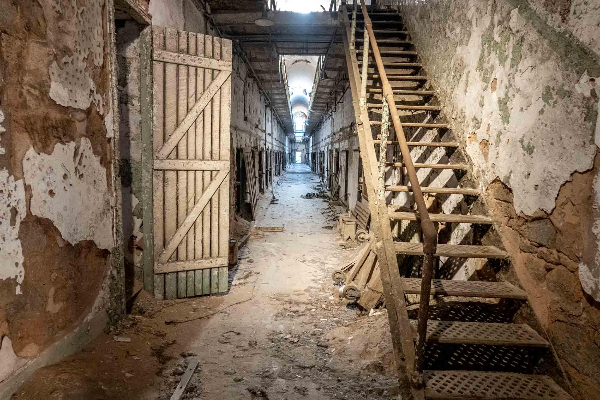 Debris in abandoned prison