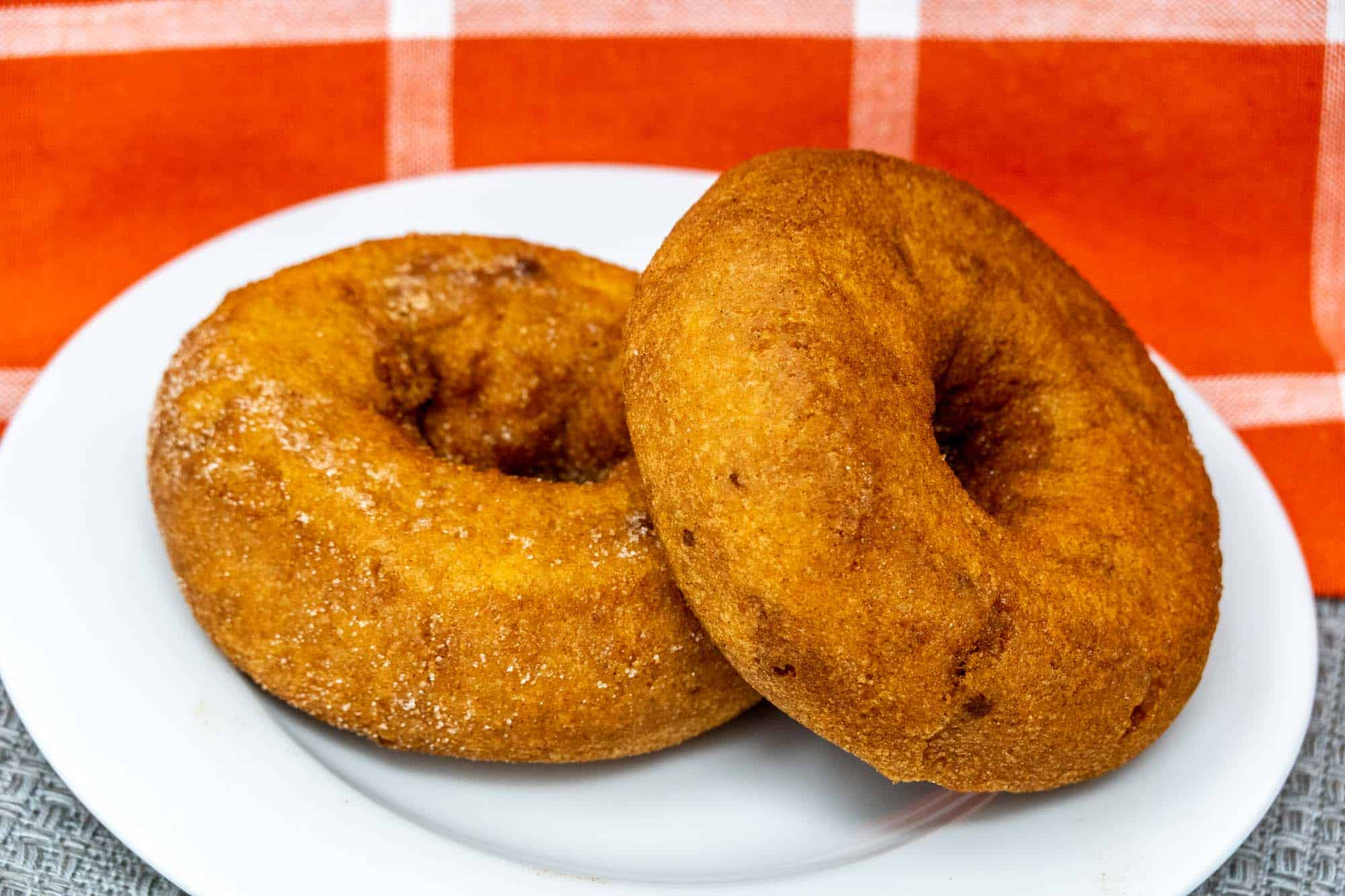 Two donuts on a plate